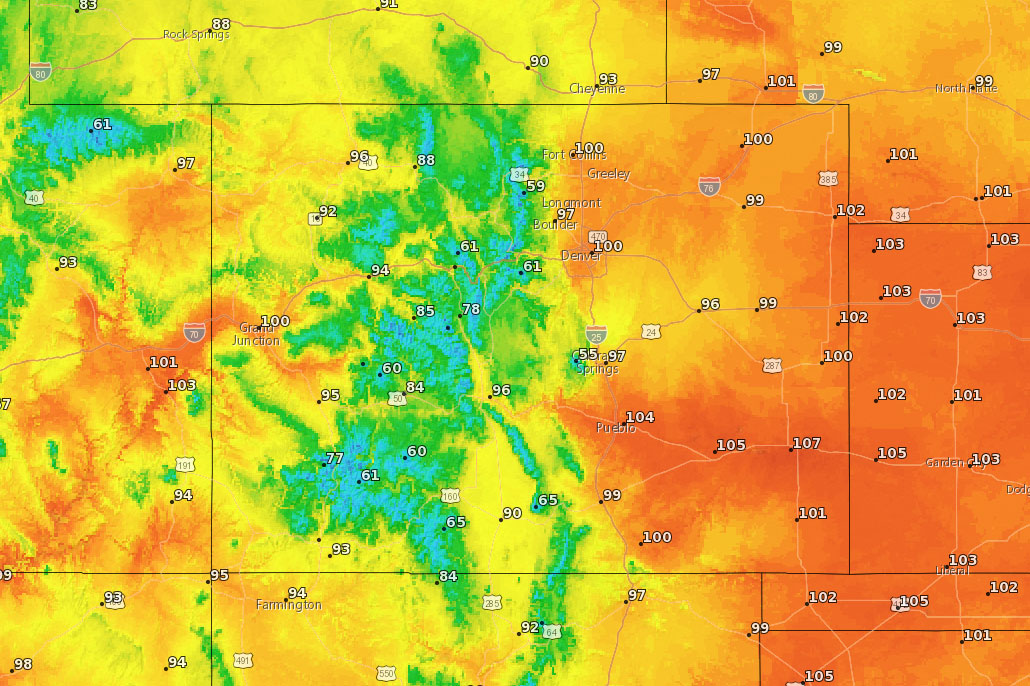 Hot and dry with record breaking temps are possible across the Coloado Front Range, July 18, 2019.