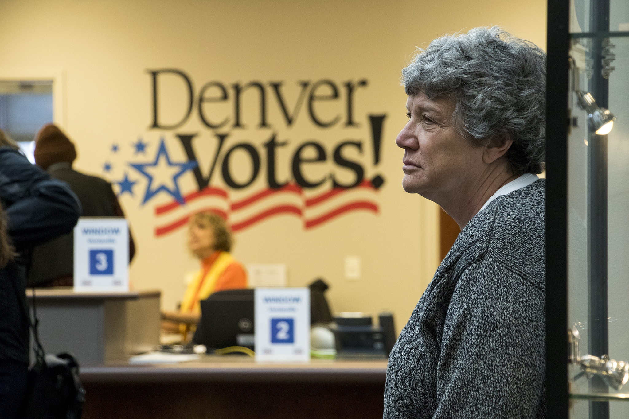 Debra Johnson, then-Denver's clerk and recorder, attends a media tour of the Denver Elections Division at their downtown headquarters, Oct. 31, 2018.