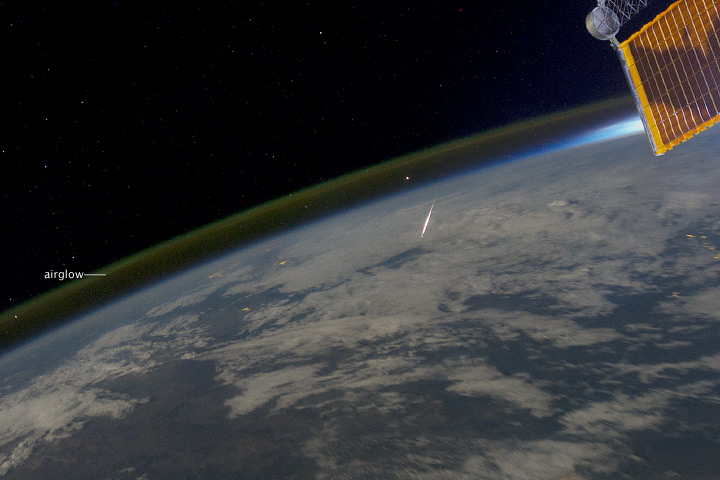 This astronaut photograph, taken from the International Space Station while over China, provides the unusual perspective of looking down on a meteor as it passes through the atmosphere. The image was taken on August 13, 2011. Provided by the ISS Crew Earth Observations experiment and Image Science & Analysis Laboratory, Johnson Space Center.