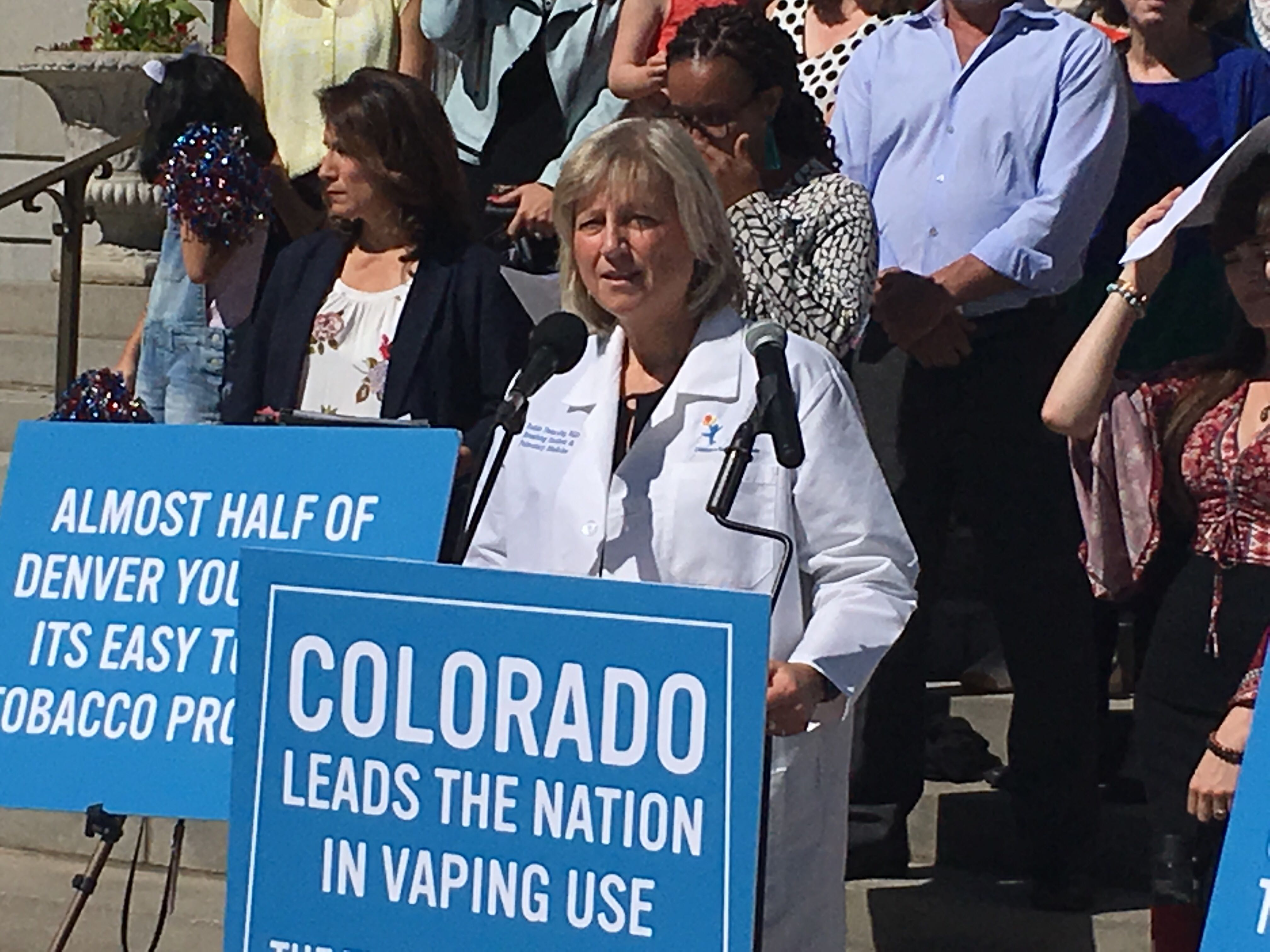 Dr. Robin Deterding, who's in charge of pulmonary pediatric medicine at Children's Hospital Colorado, speaks at a press conference Aug. 13, 2019, in favor of Denver's proposed tobacco reforms.