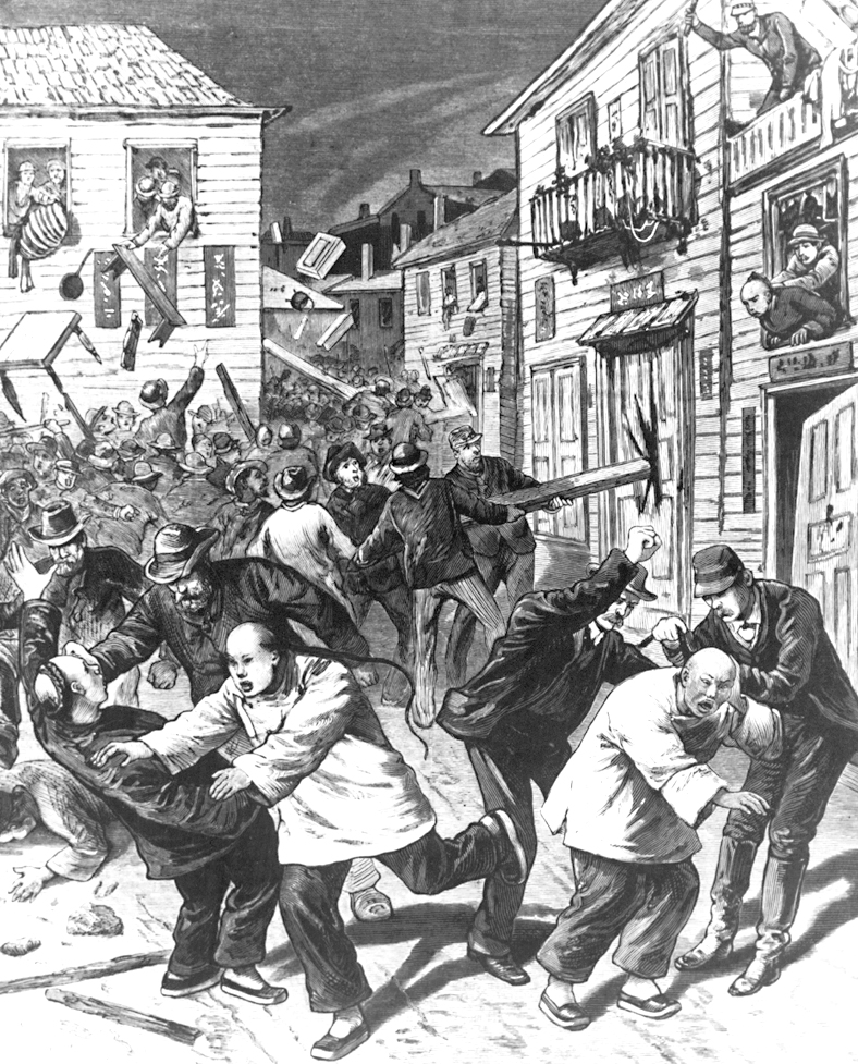 One of the few depictions of Denver's anti-Chinese riot of Oct. 31, 1880, this illustration (based on a sketch by N. B. Wilkins) appeared in Frank Leslie's Illustrated Newspaper on November 20 of that year. Rioters assault Chinese men, throw belongings out of windows and use wooden beams to destroy frame buildings. Rioters wear hats and sack suits, and Chinese men have queues (braids) and wear shan ku (tunic and trousers) and bu xie (cotton shoes).