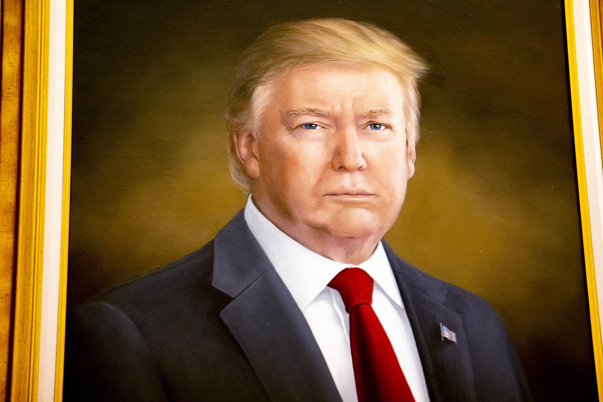 A portrait of President Donald Trump unveiled inside the Colorado State Capitol on Thursday, Aug. 1, 2019.