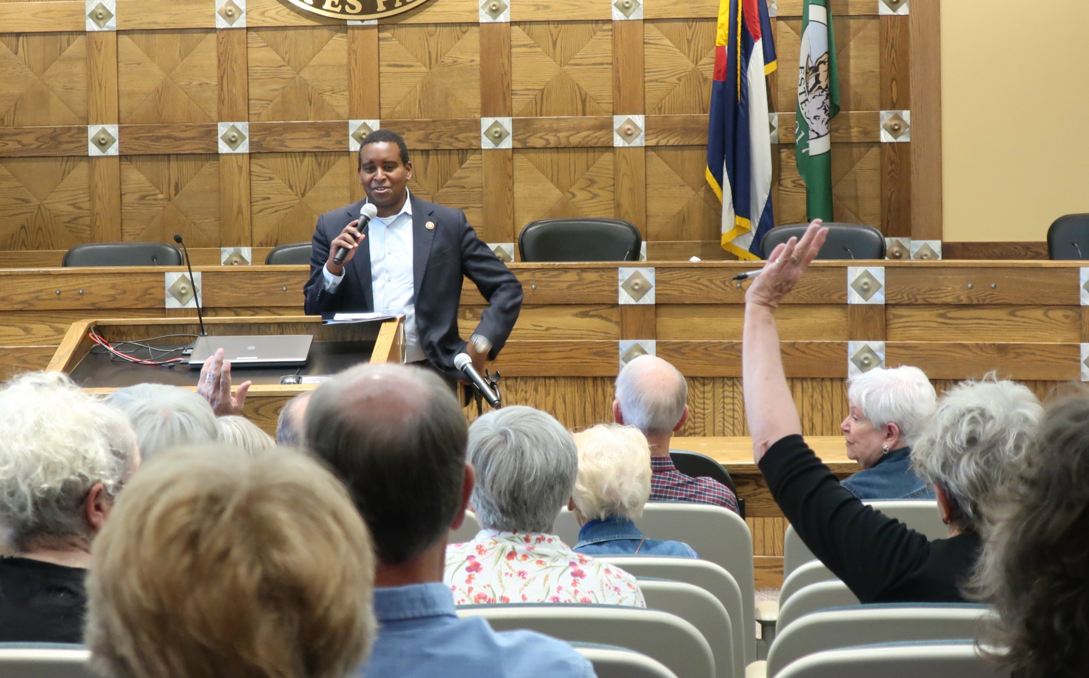 Rep. Joe Neguse at a town hall in Estes Park on Aug. 12, 2019.