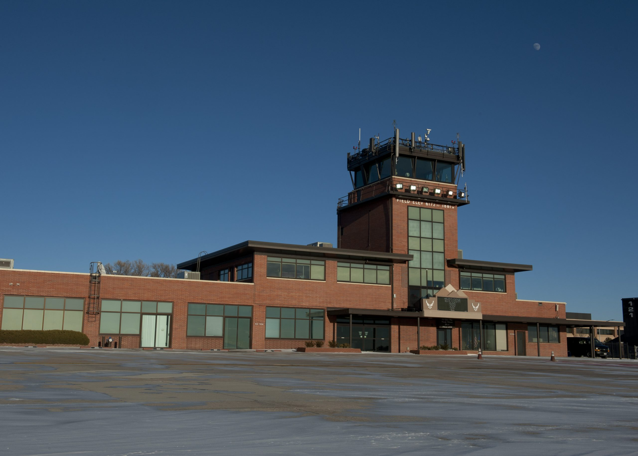 The traffic control tower at Peterson airfield.