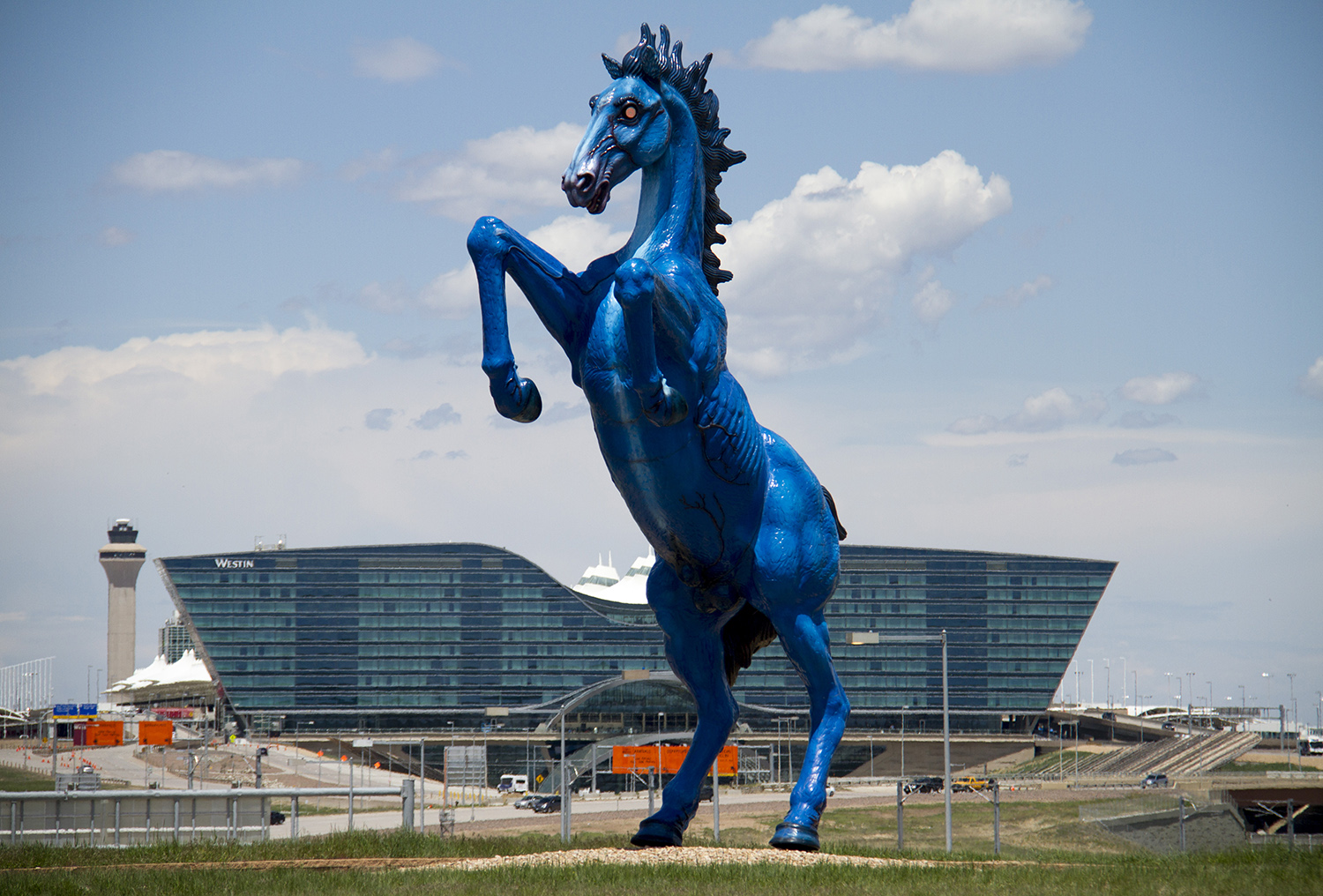 Denver International Airport's iconic demonic horse, known as Blucifer.