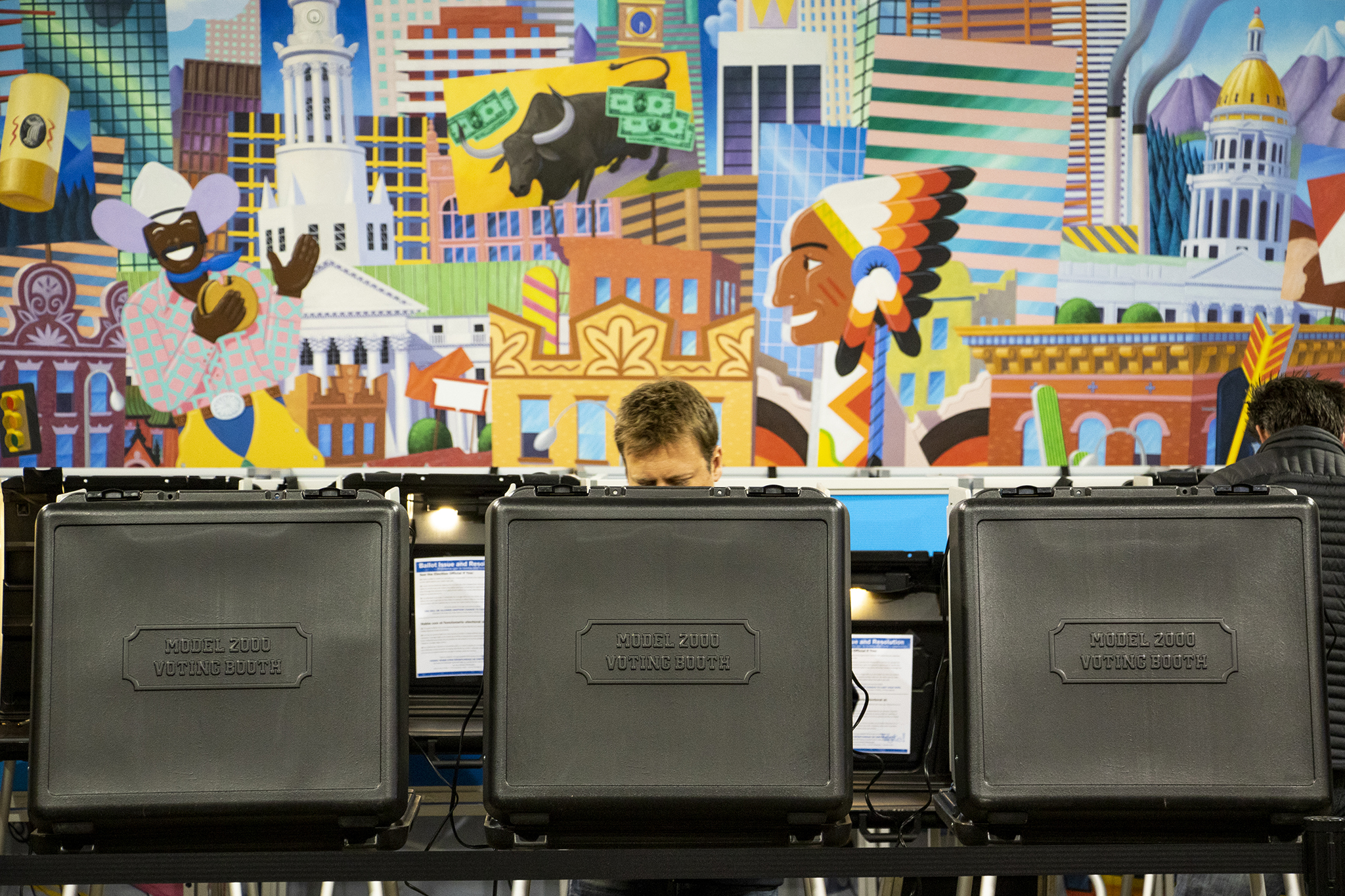 A Denverite votes at Denver Elections Division on Election Day, May 7, 2019.