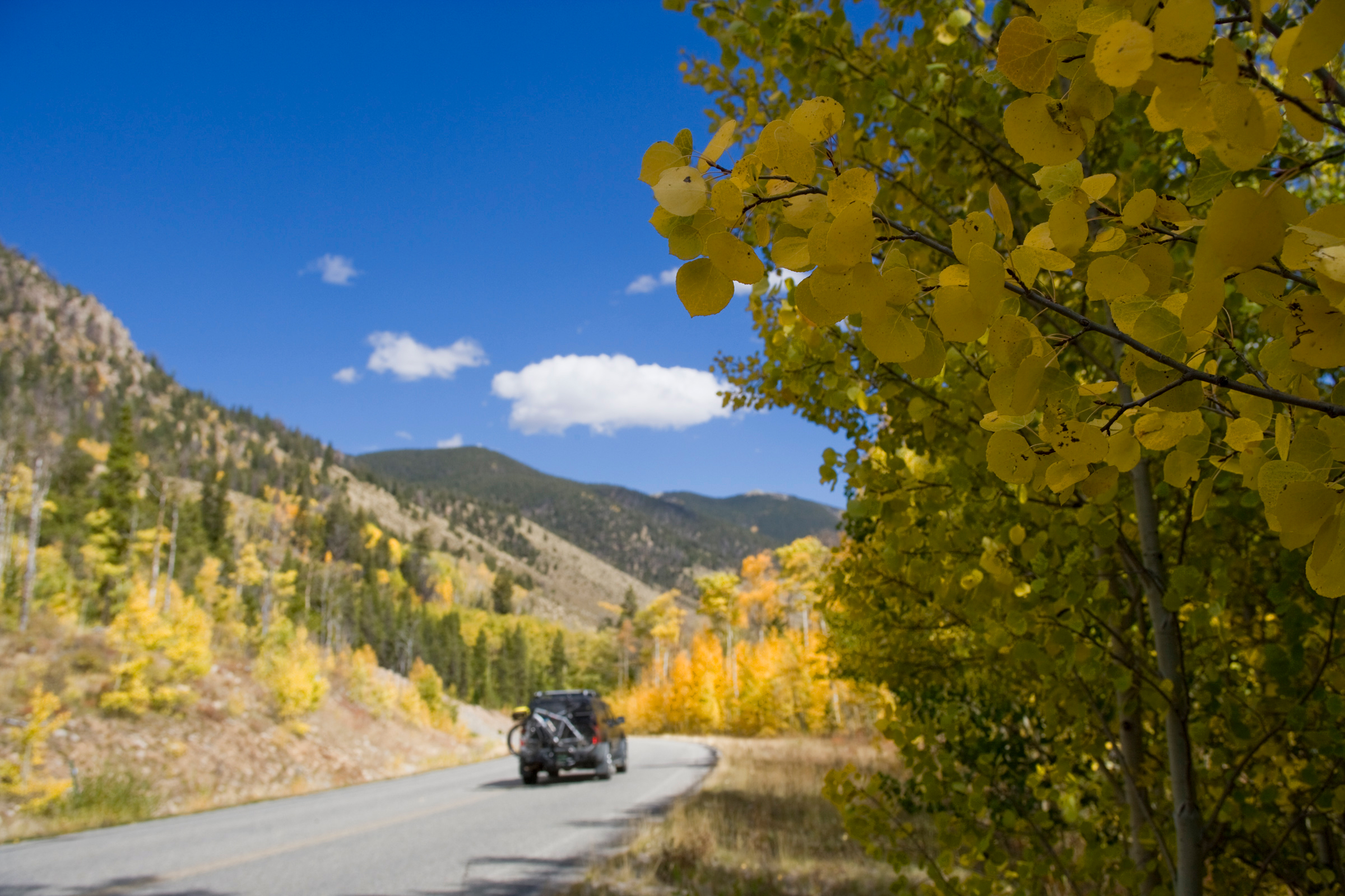 A motorist descends down Cottonwood Pass, a mountain road along a scenic view of autumn color of aspen trees in full bloom, near Buena Vista, Colo. on Tuesday, Sept. 29, 2009.