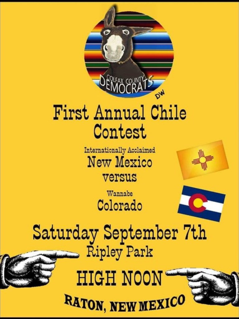An Old West-style poster announces the chile cook-off. In Raton, New Mexico.