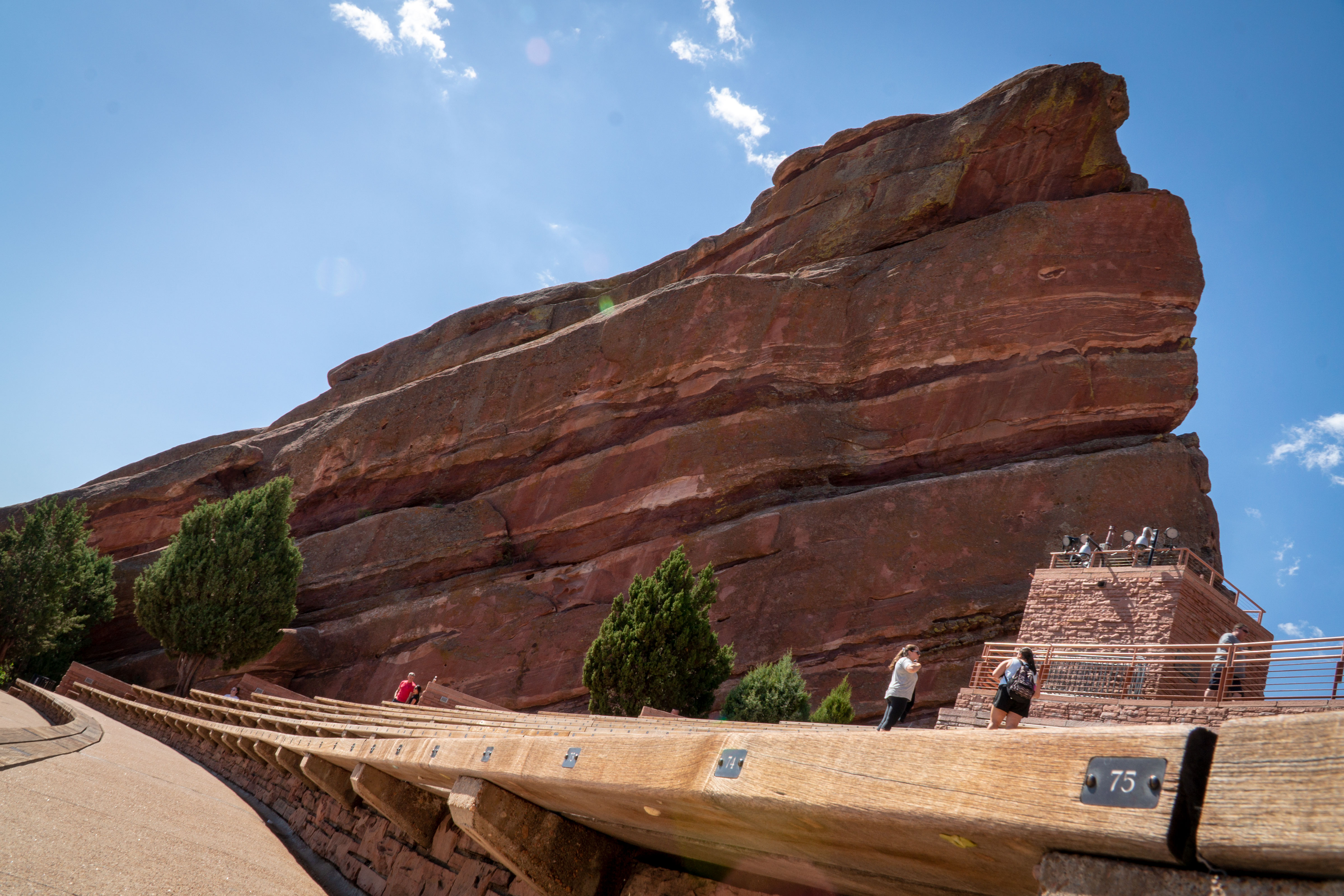 A sunny day at Red Rocks Amphitheatre in Morrison, September 2019.