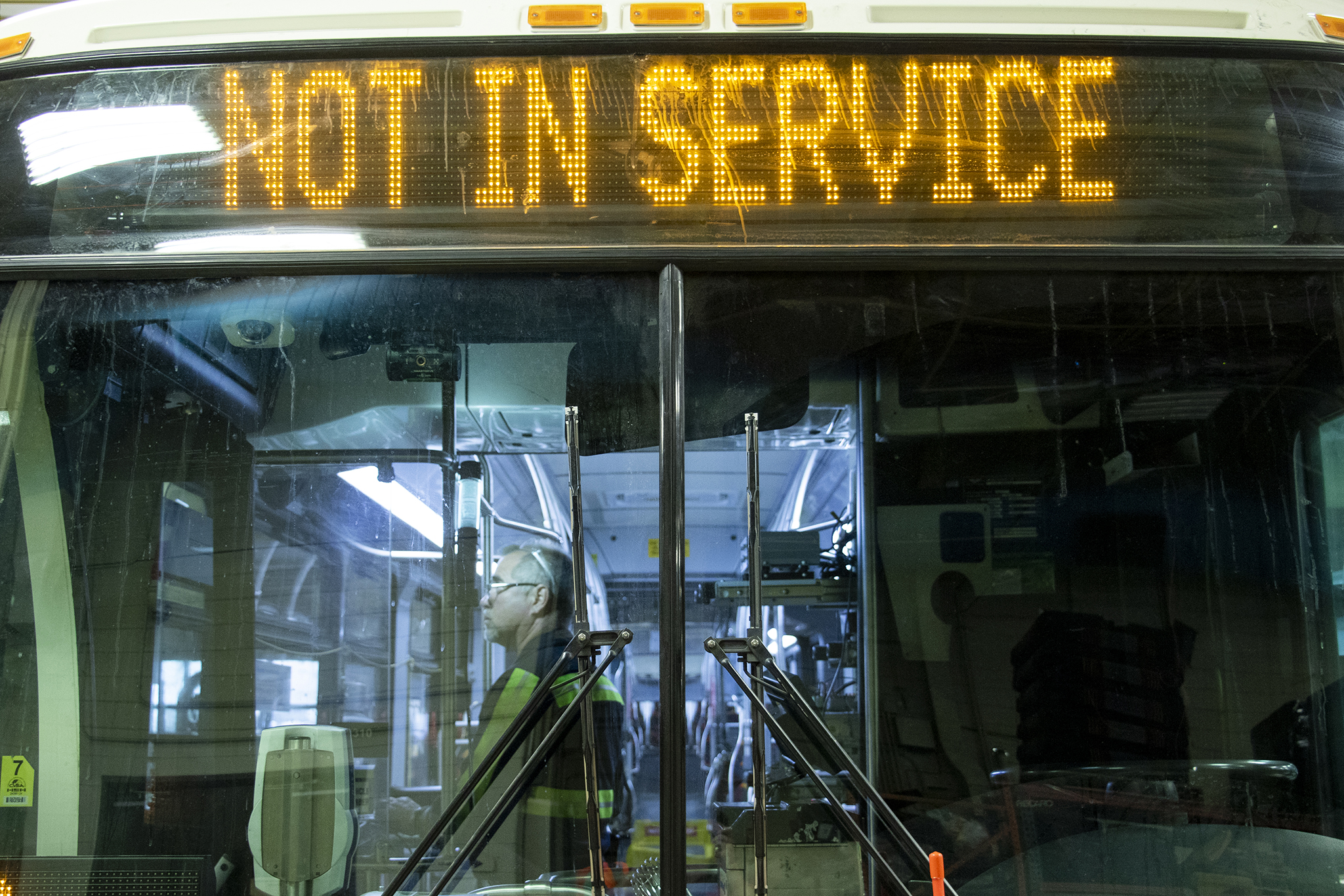 "This vehicle is ""NOT IN SERVICE"" at RTD's main bus repair depot, June 25, 2019."