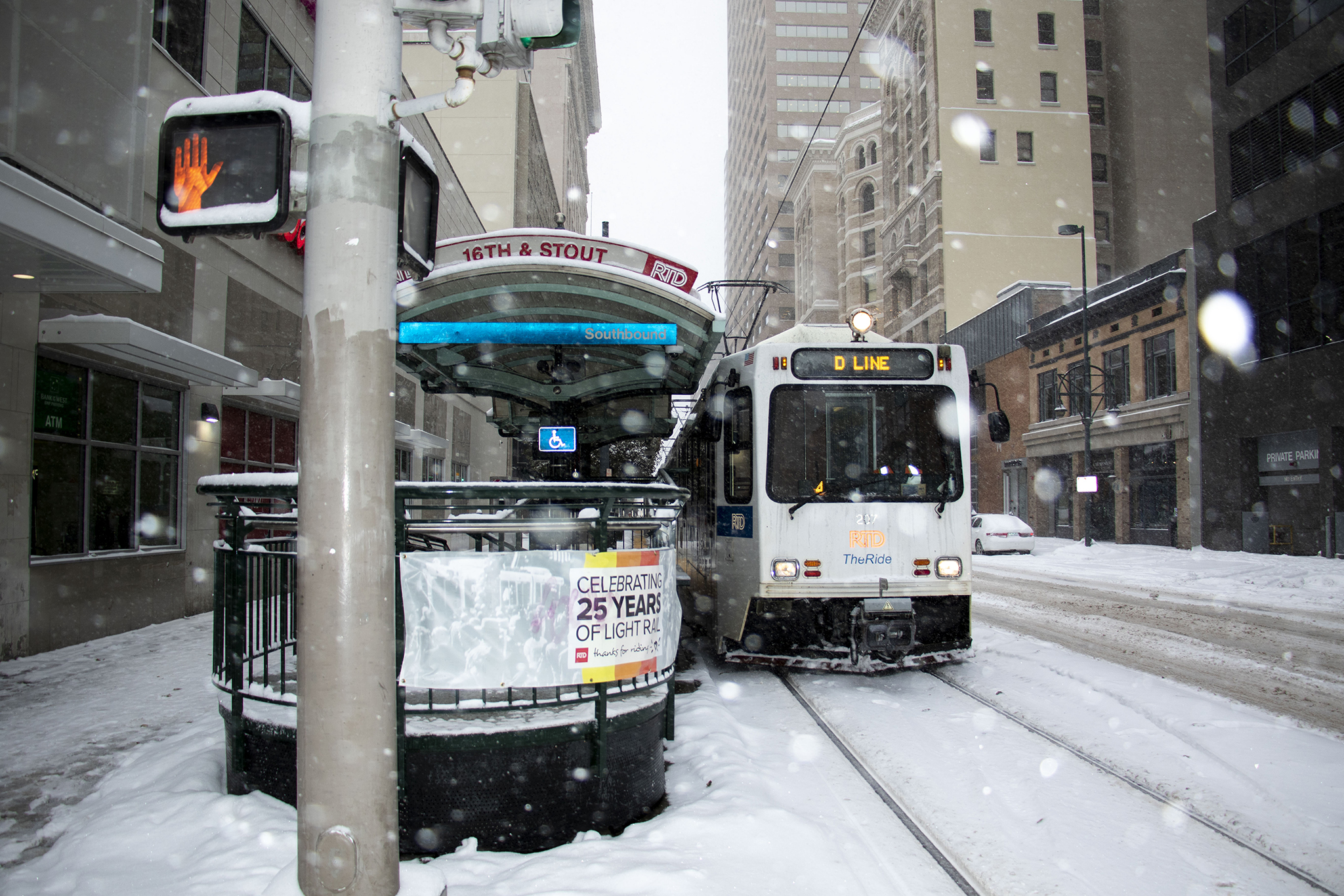 And RTD train downtown on a snowy day in Denver. Oct. 29, 2019.