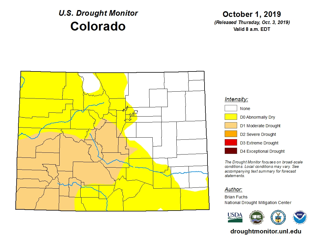"""Western Colorado is now largely experiencing """"moderate drought,"""" a level above """"abnormally dry"""" on drought monitors."""
