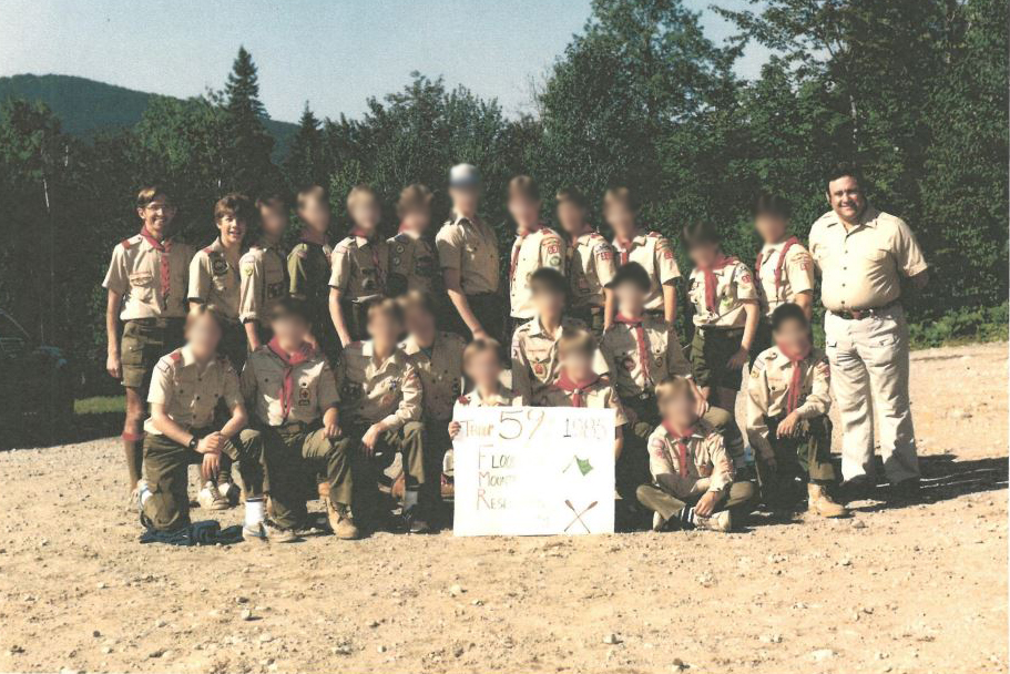 Tim says he was abused by a scoutmaster named John Cebak in New Jersey in the 1980s. Cebak stands at the far left in this photo, with Tim right next to him. Tim, who now lives in Denver, plans to sue the Boy Scouts.