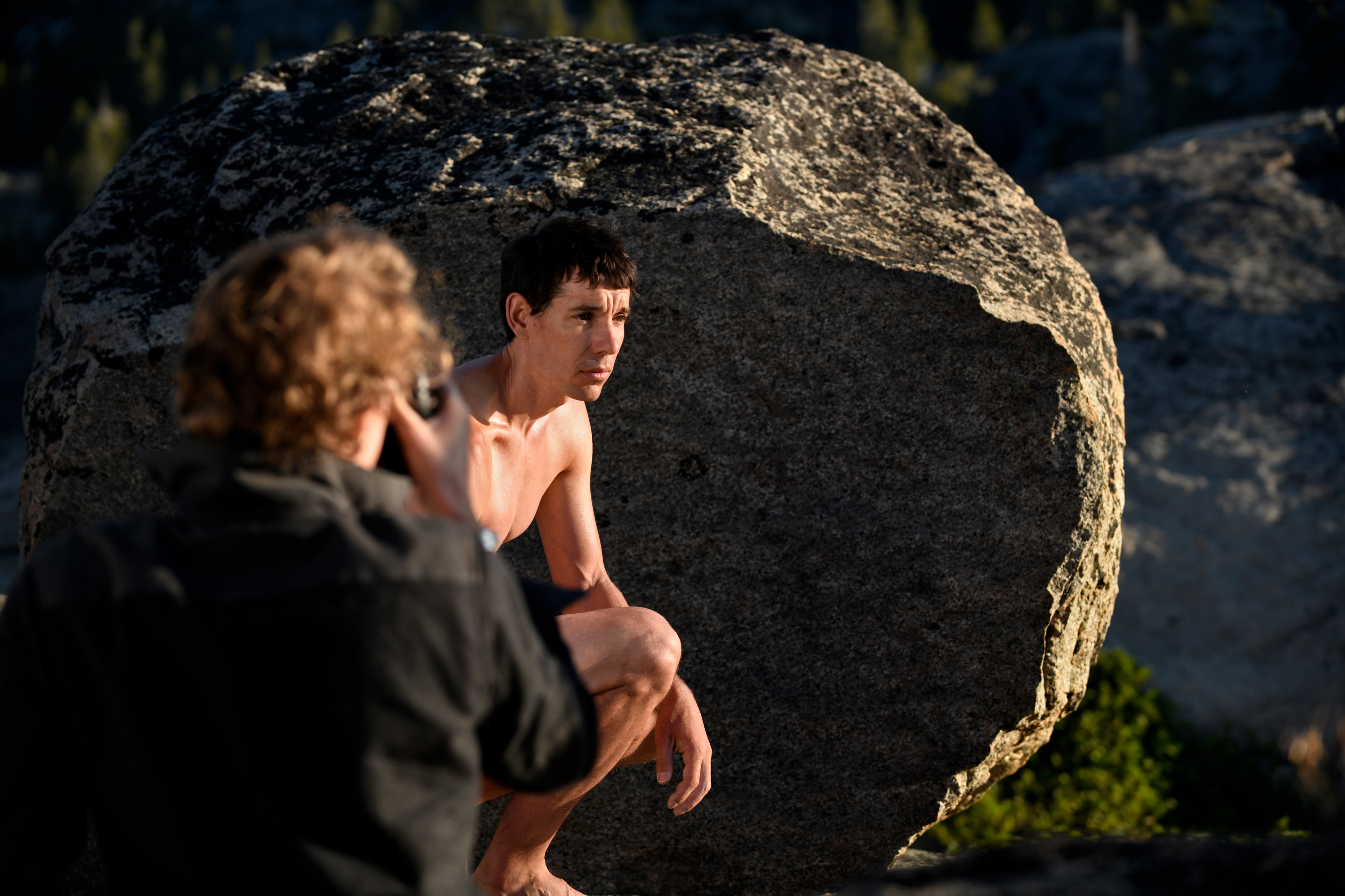 Cory Richards photographing Alex Honnold for the 2019 ESPN Body Issue.
