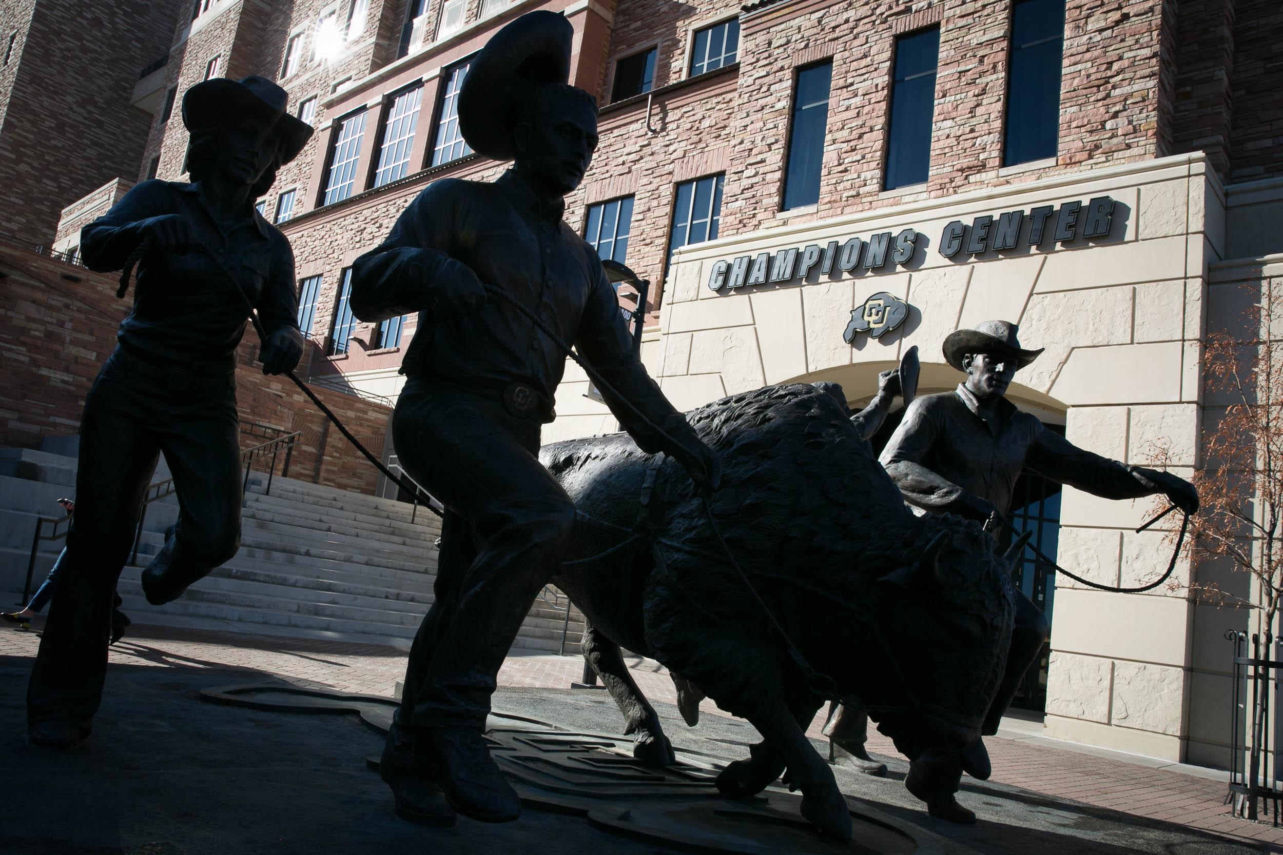 Statue commemorating CU Boulder Mascot Ralphie
