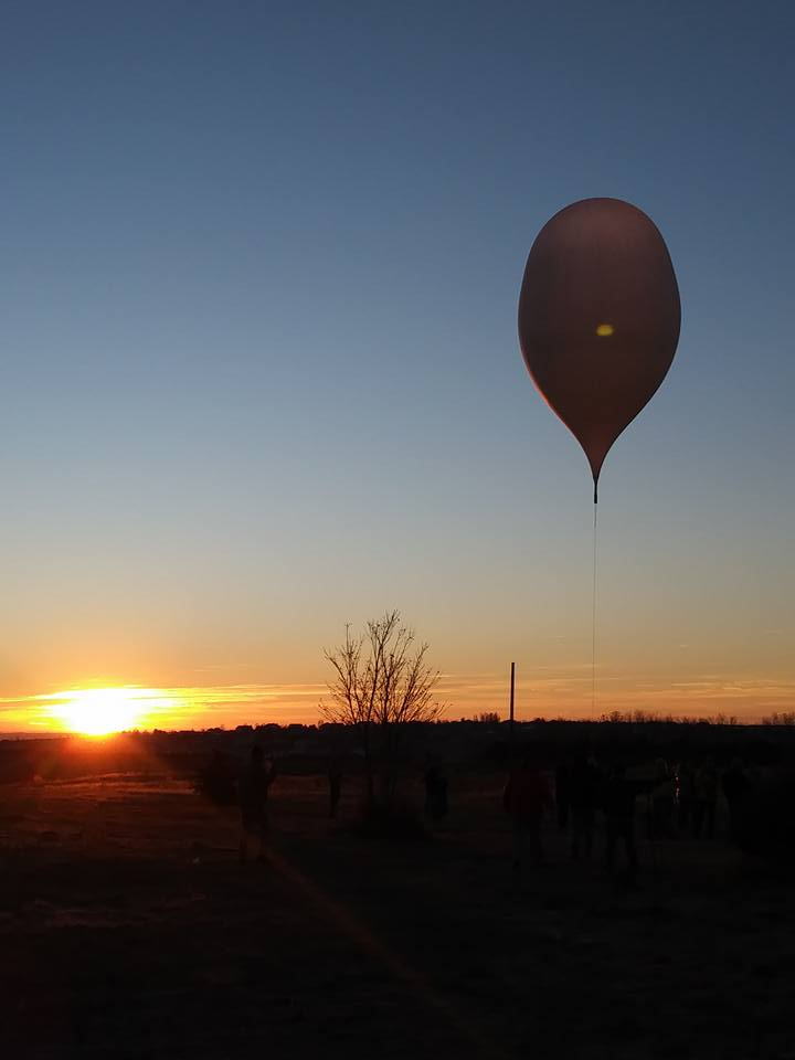 A photo of a balloon satellite from a previous experiment at Pueblo Community College.