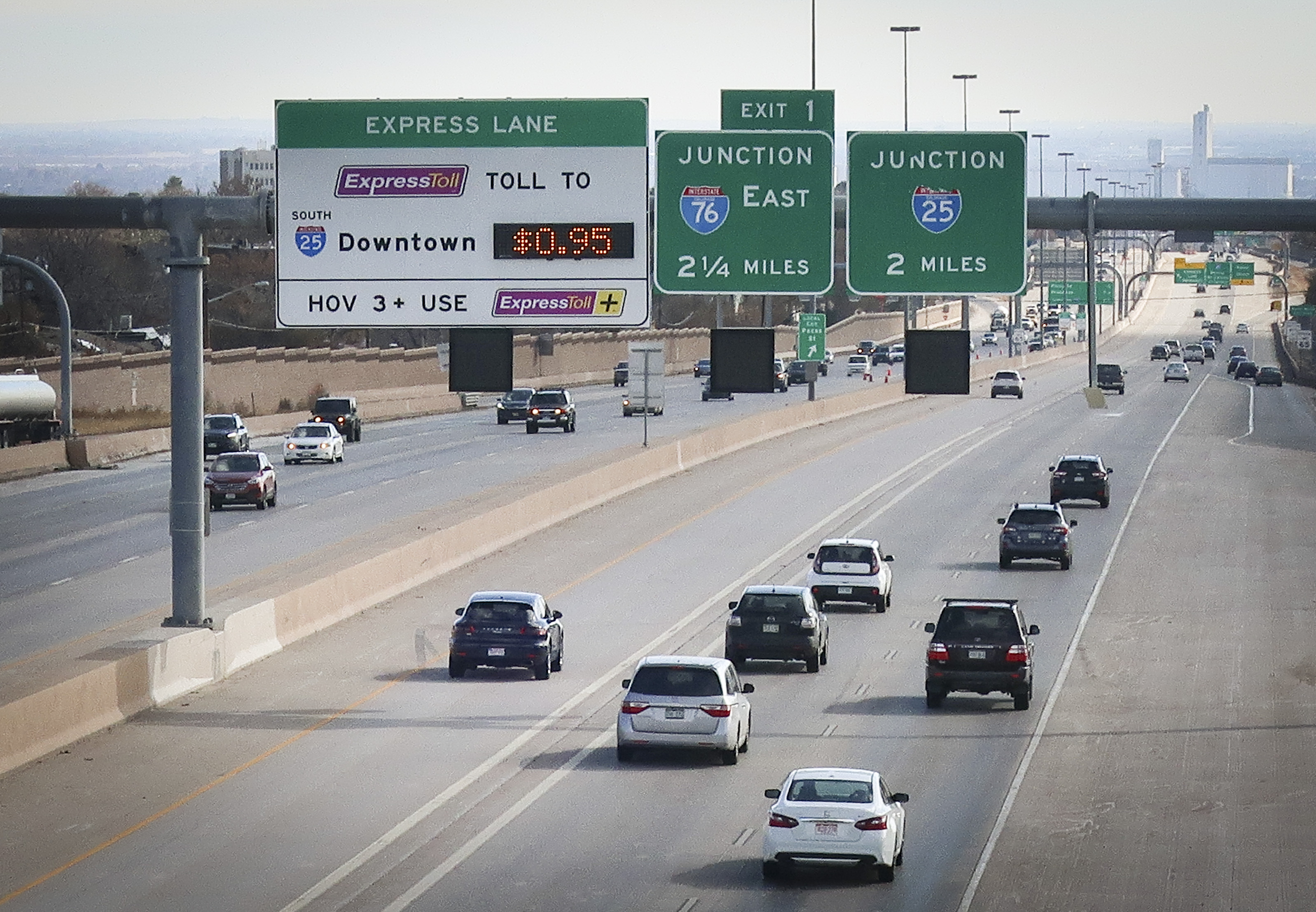 Traffic breezes down U.S. 36 toward Denver on Monday, Nov. 4, 2019.