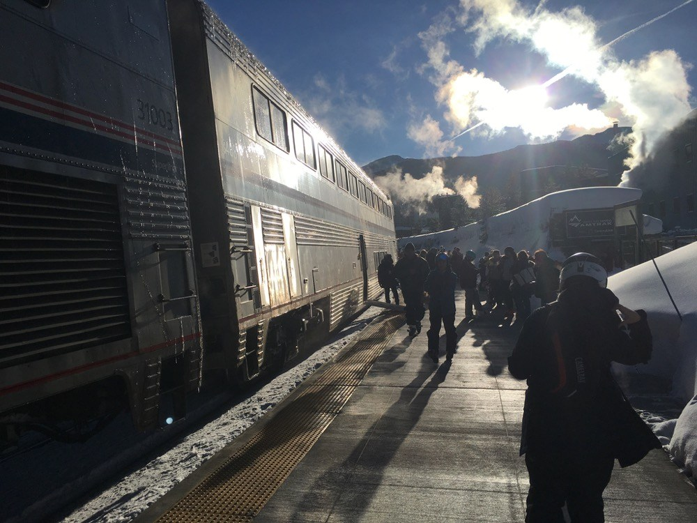Passengers unload from the Winter Park Express on Jan. 7, 2017, at Winter Park.