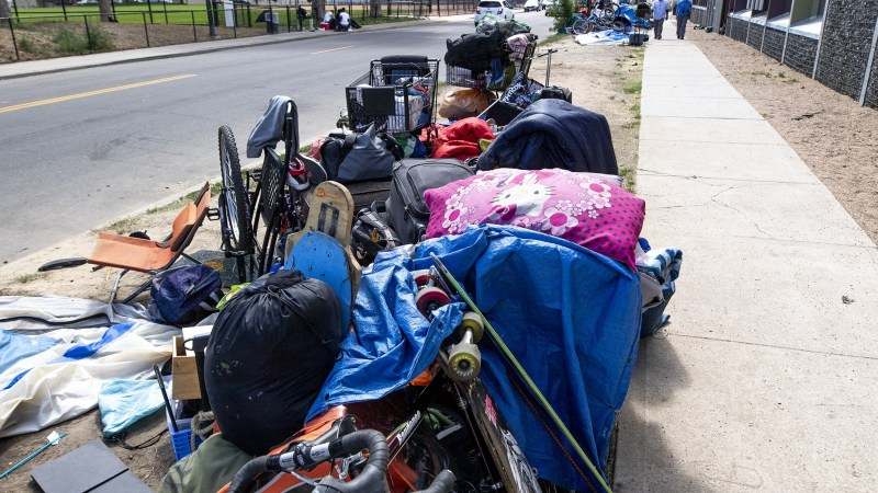 The patch between California Street and the sidewalk where people living in homelessness have been asked to move due to upcoming work by Xcel Energy. Five Points, Sept. 18, 2019.