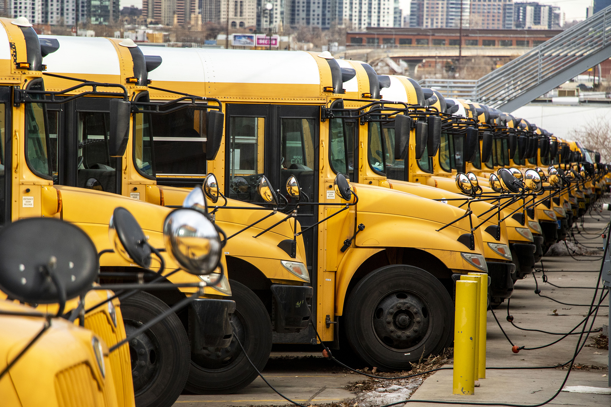 Denver Public Schools buses at their home off Federal Boulevard, Dec. 14, 2019.