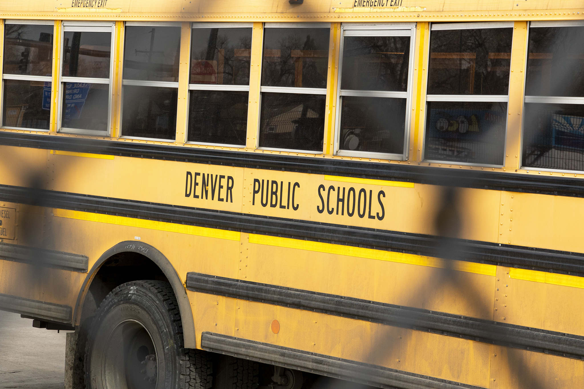 A Denver Public Schools bus at its home off Federal Boulevard, Dec. 14, 2019.