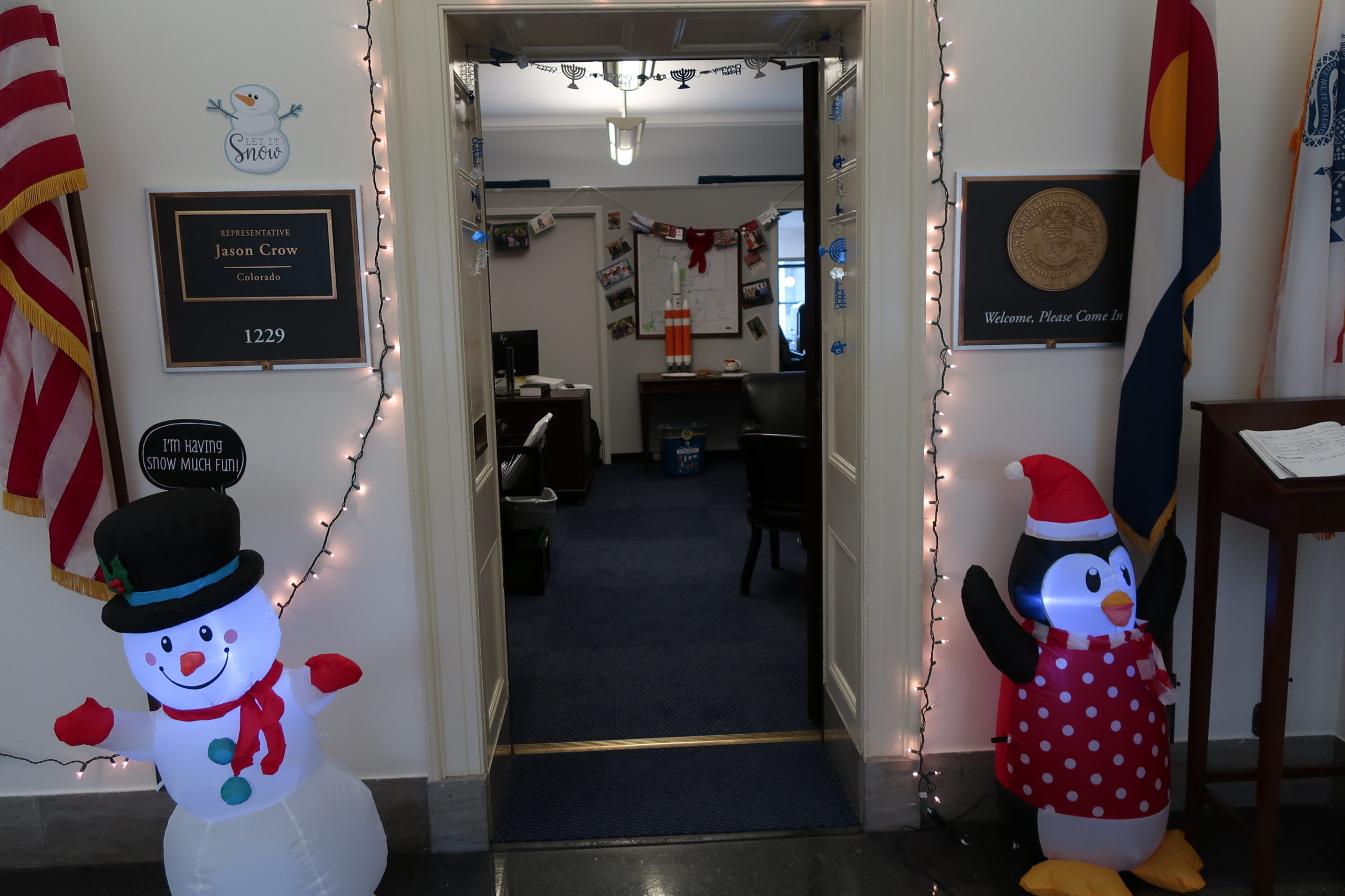 Some of the holiday decorations outside the D.C. office of Rep. Jason Crow.