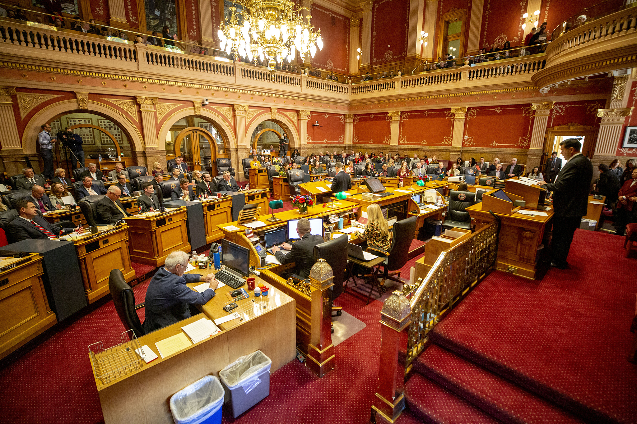 Senate President Leroy Garcia speaks at the podium on the first day of the 2020 legislative session at the Colorado State Capitol. Jan. 8, 2020.