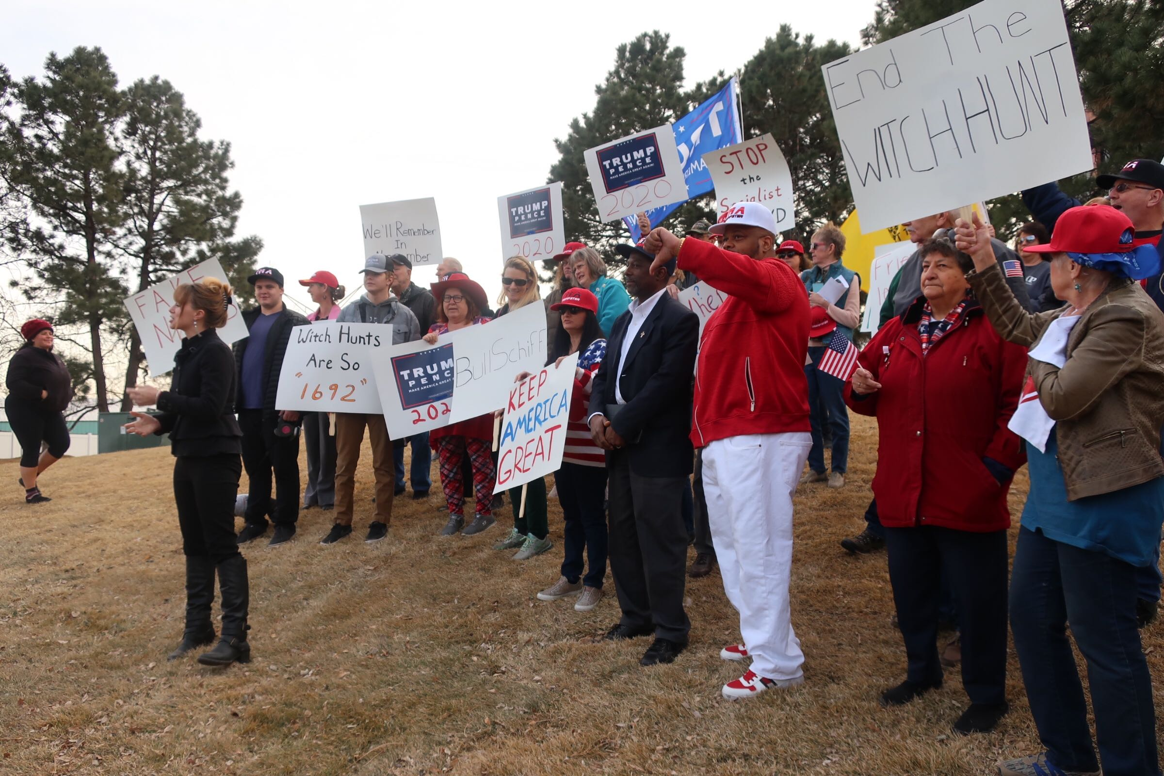 Colorado's GOP Vice Chair Kristi Burton Brown and Colorado and supporters of President Trump rally outside Rep. Jason Crow's Aurora office for an anti-impeachment protest on Friday, Jan. 24, 2020.