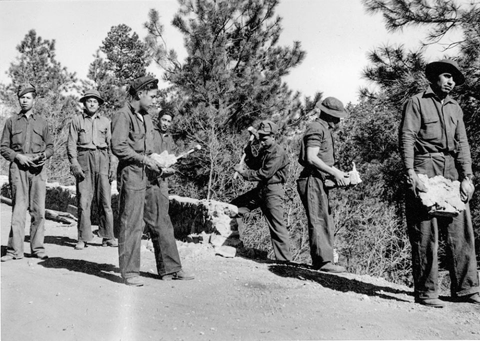 WPA Workers building one of the many rock walls of the Pueblo Mountain Park.
