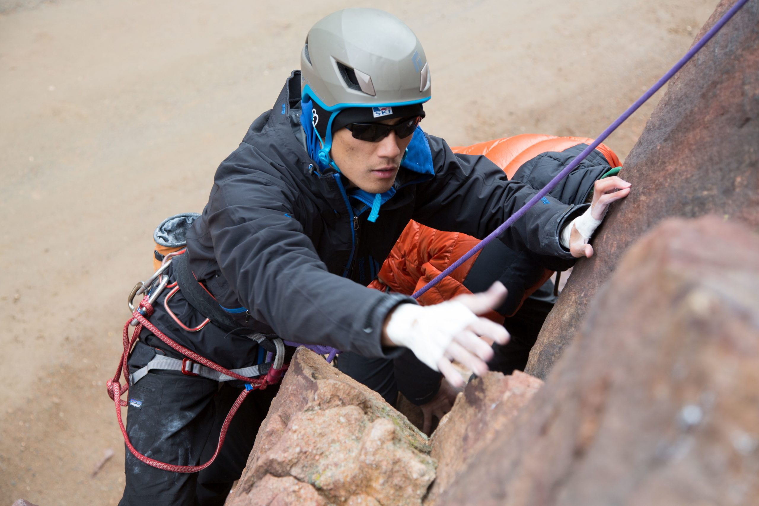 Colorado veteran Steve Baskis, who was blinded in combat, climbs the Bastille Crack in Eldorado Canyon State Park in Boulder County.