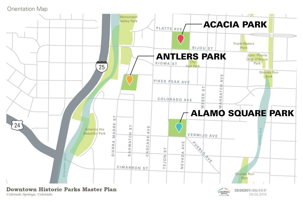 The city's Historic Park Master Plan focuses on Acacia Park, Antlers Park, and Alamo Square Park.