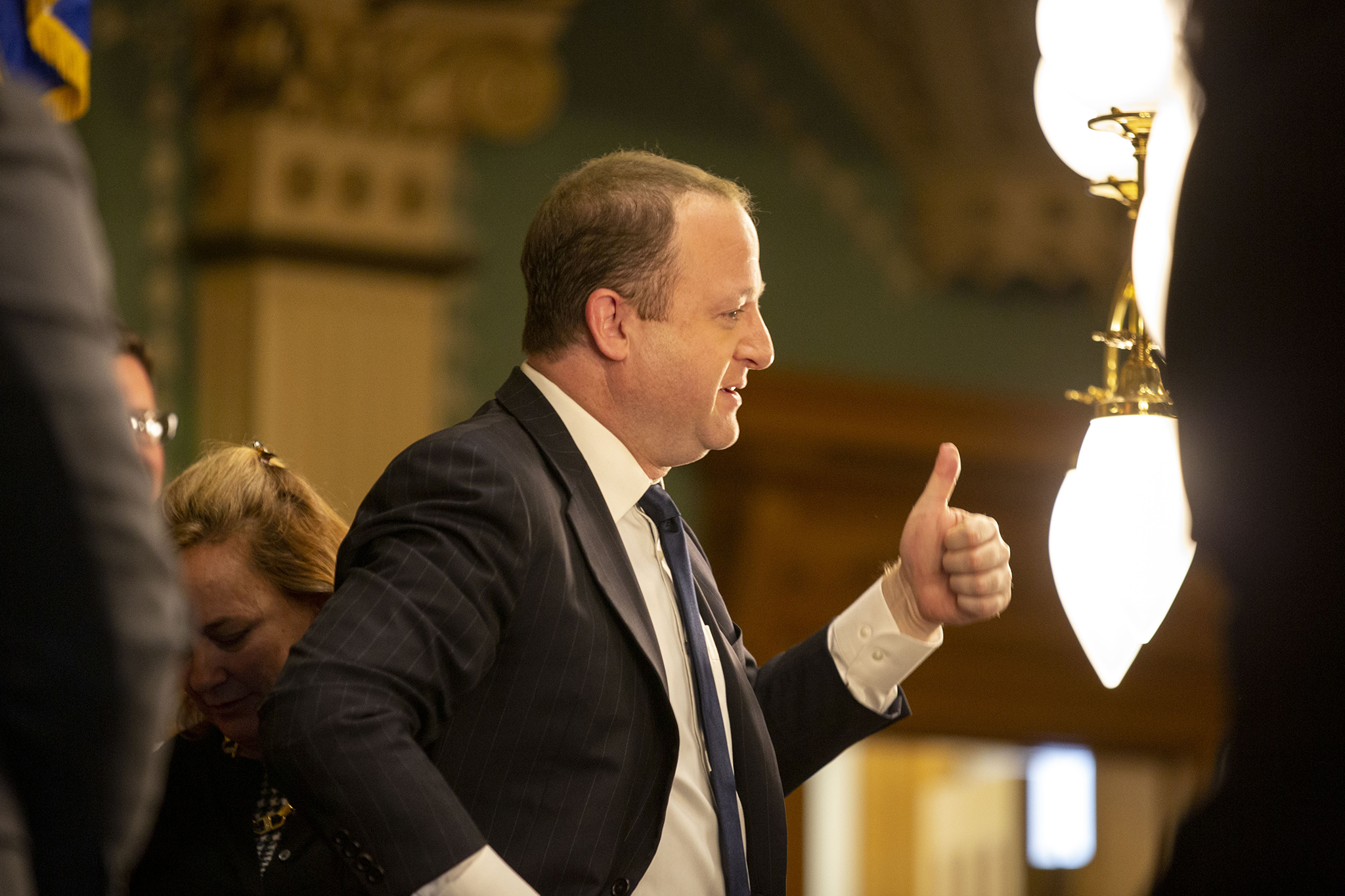 Gov. Jared Polis' prepares to make his second State of the State address. Jan. 9, 2019.