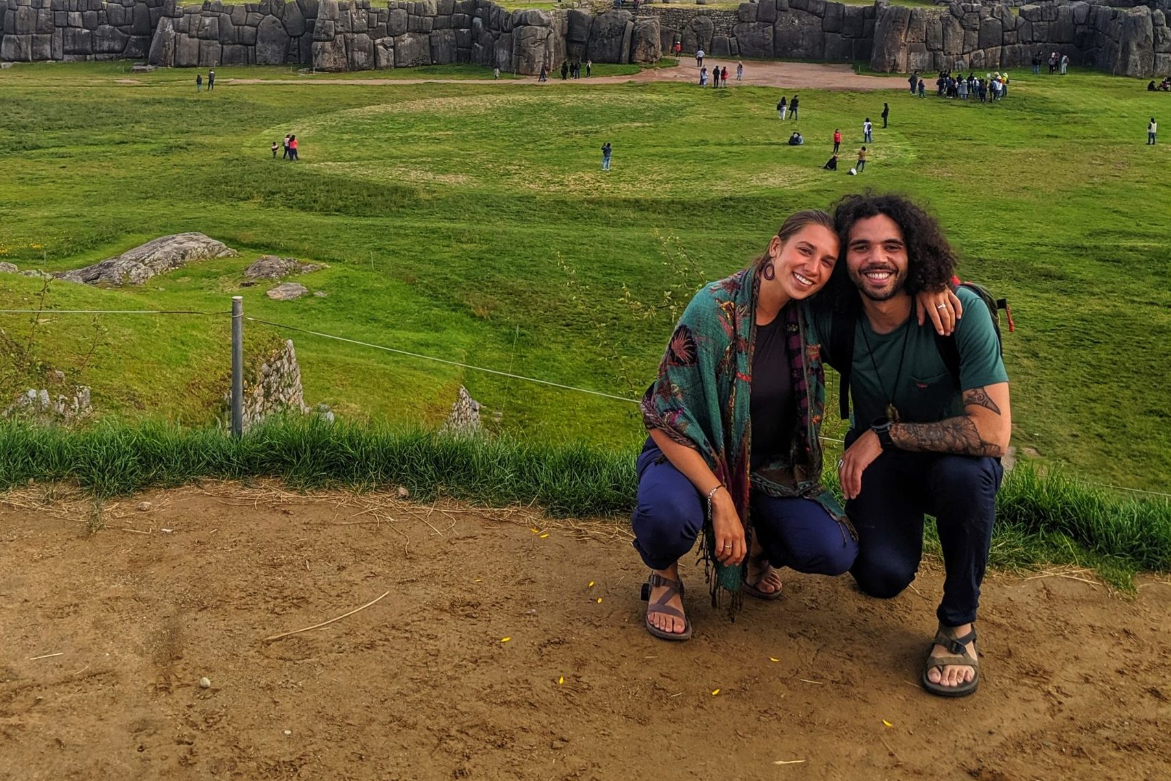 Coloradans Ava Williams and Emil Ortiz at Sacsayhuamán in Cusco, Peru, hours before the Peruvian president announced borders would be shut in 24 hours.