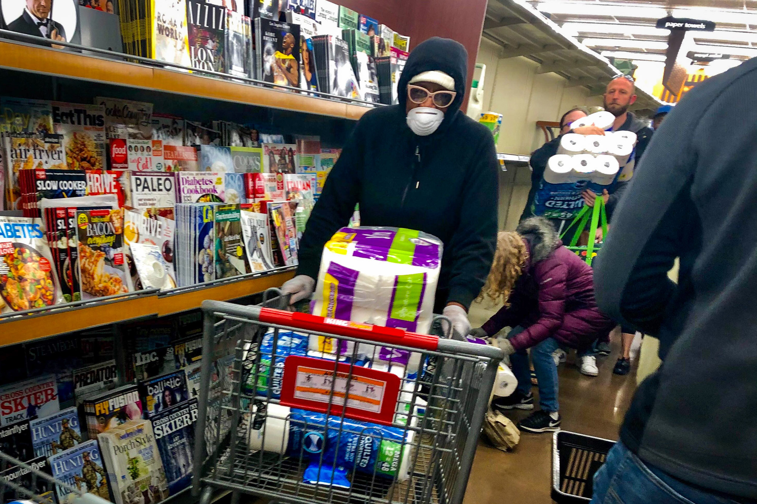 Coronavirus Shoppers Load Up With Toilet Paper At King Soopers
