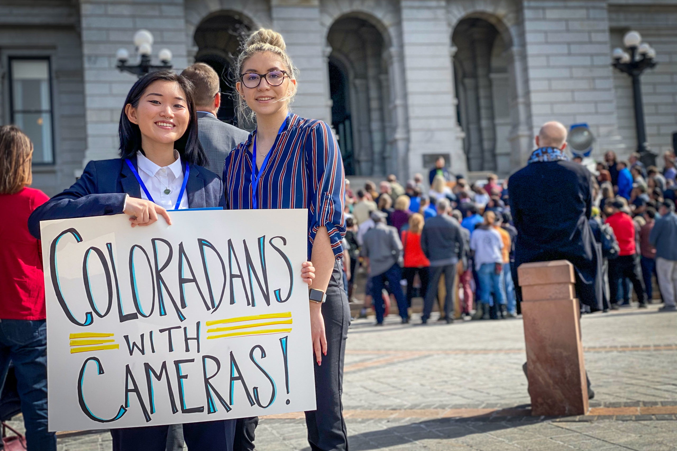 University of Colorado Denver students Marin Lepore and Monique Salas want to pursue careers in television or film, but feel like there aren't enough opportunities to do so in Colorado. That's why they've come to the Cinema Day rally outside the Colorado State Capitol on March 6, 2020.