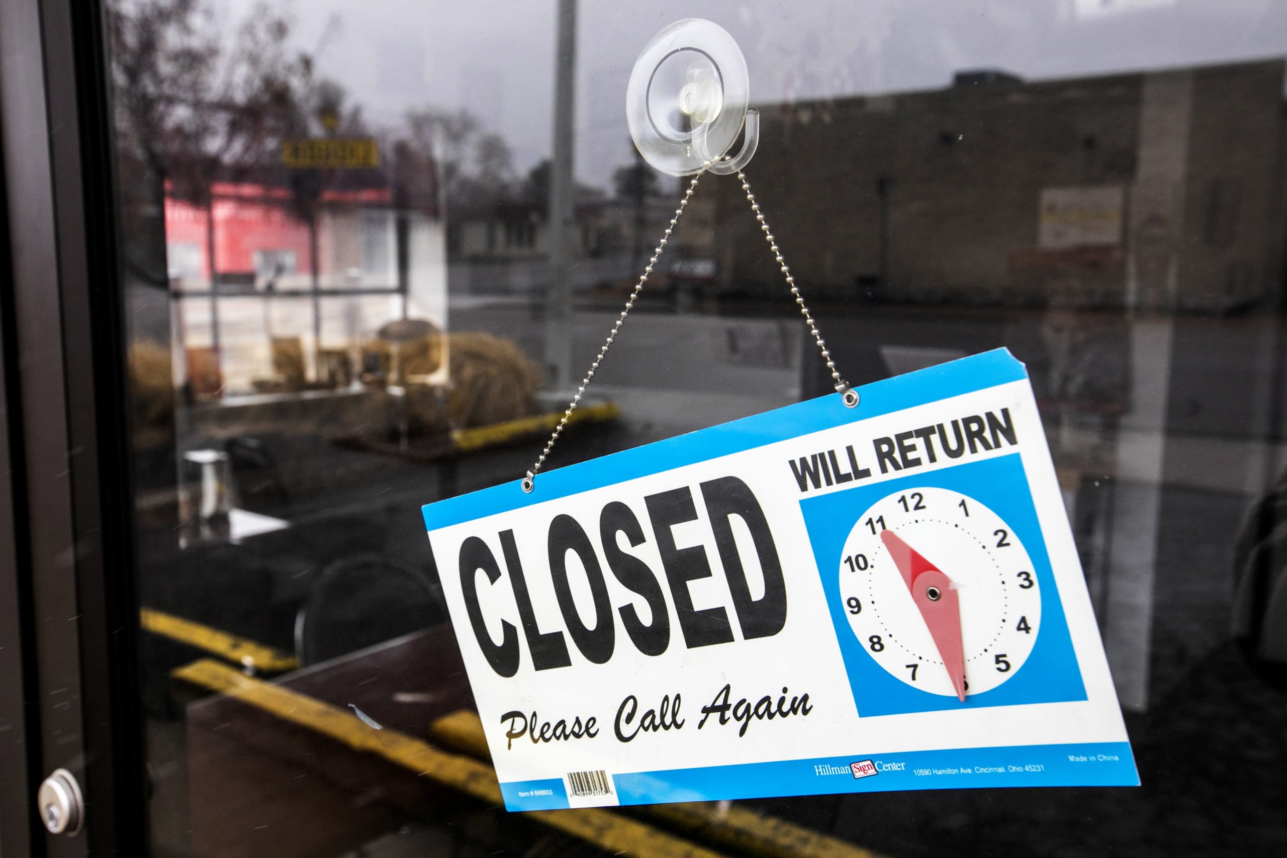Closed signs are everywhere, and on this restaurant in Englewood, during government-ordered stay-at-home measures to combat the spread of coronavirus. Some restaurants have tried to keep up business by offering to-go, delivery, and curbside pickup menus.