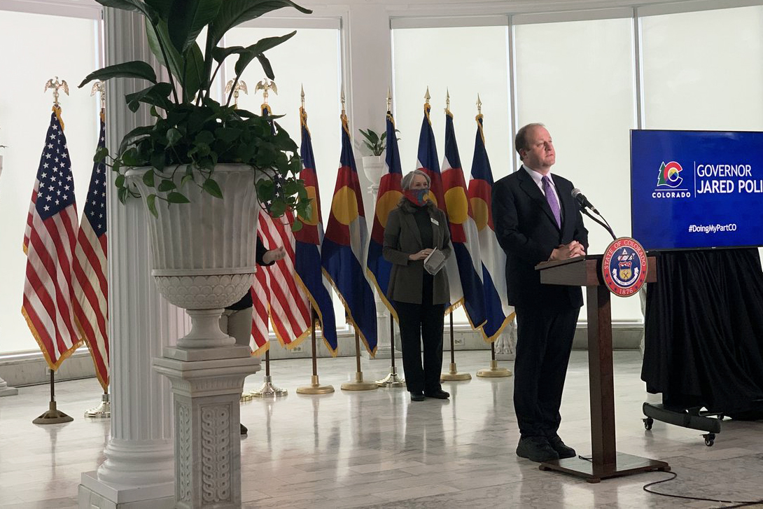 Gov. Jared Polis provides an update on the state's response to coronavirus on Monday, April 13.