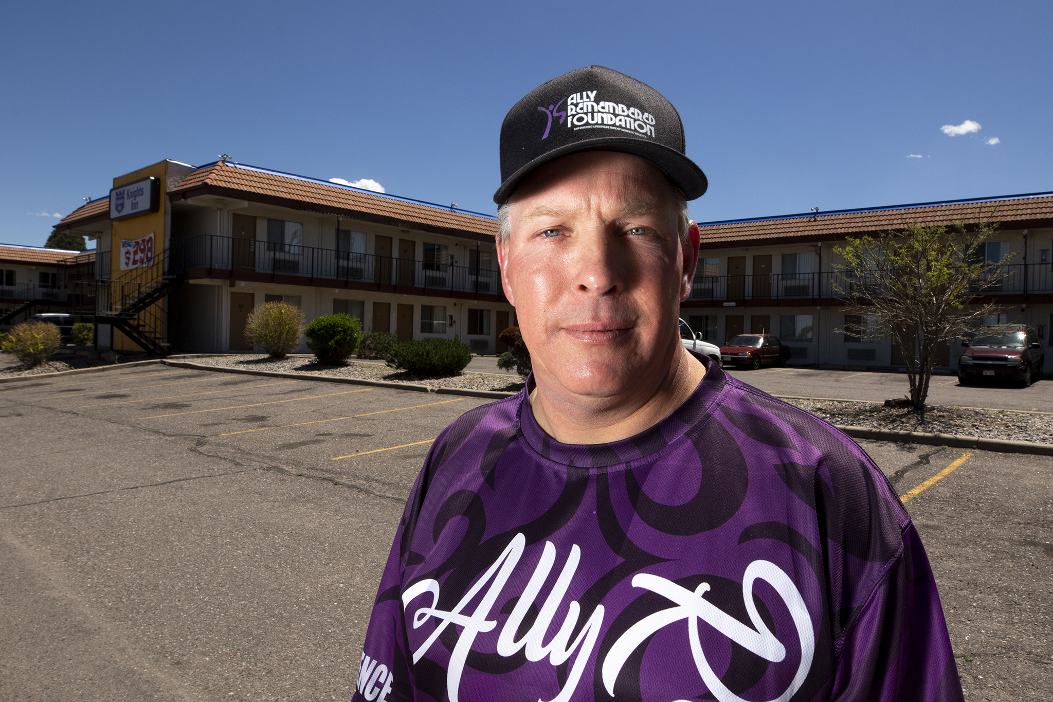 Andy Starret stands in front of the Knights Inn in Aurora, where his daughter Ally was murdered. May 22, 2020.