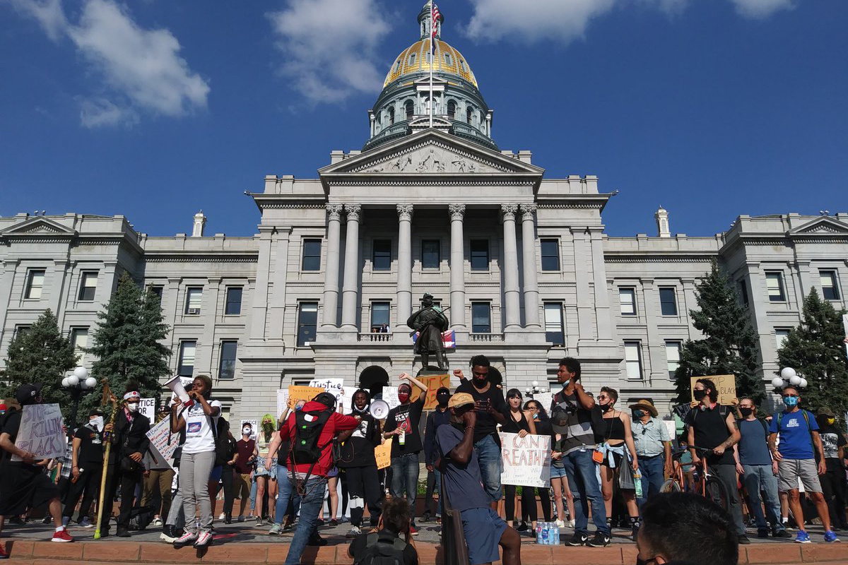 Hundreds gather at the state Capitol to protest the death of George Floyd on Thursday, May 28, 2020.