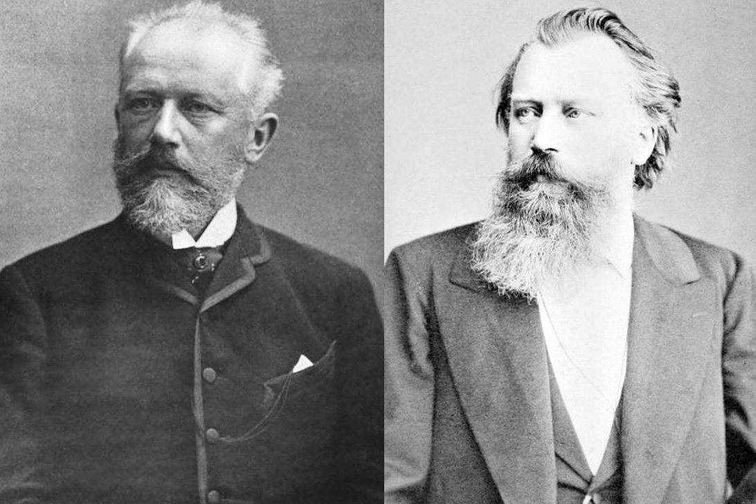 Peter Tchaikovsky (left) was born on May 7, 1840 in Votkinsk, Russia. Johannes Brahms was born in Hamburg, Germany on May 7, 1833.
