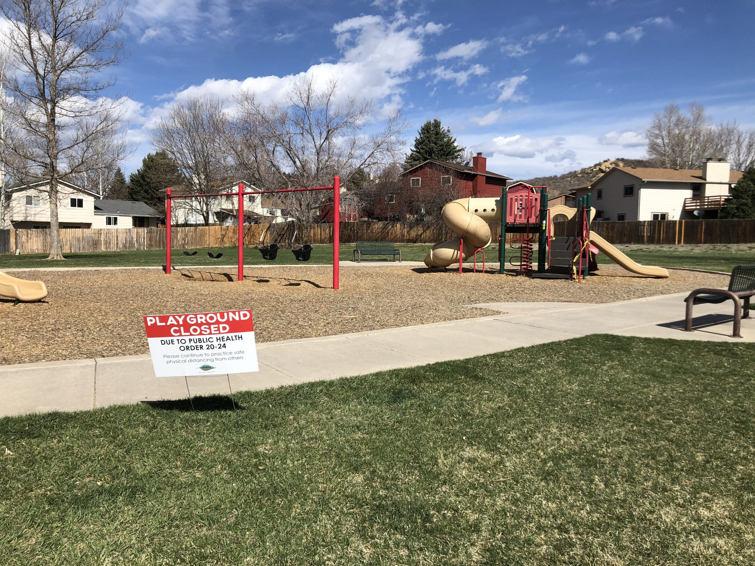 A closed Colorado Springs playground during the state's stay-at-home regulations. Still with the current safer-at-home regulations, playgrounds in the region remain closed. File photo.