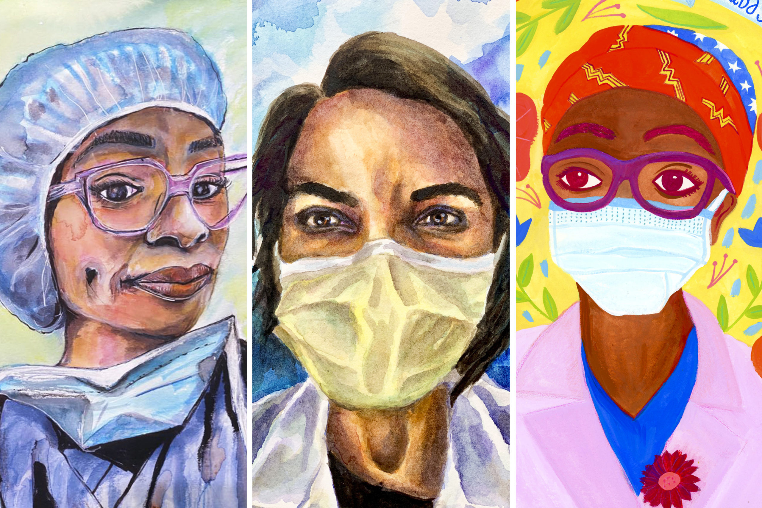 (from left to right) Dr. Kamaria Cayton Vaught, by Anu Gupta; Dr. Shanta Zimmer, by Amy Moore; Dr. Huda Sayed-Johnny by Andrea Floren