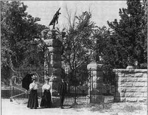 The old gates to Pueblo City Park eventually fell into disrepair and many of the statues disappeared.