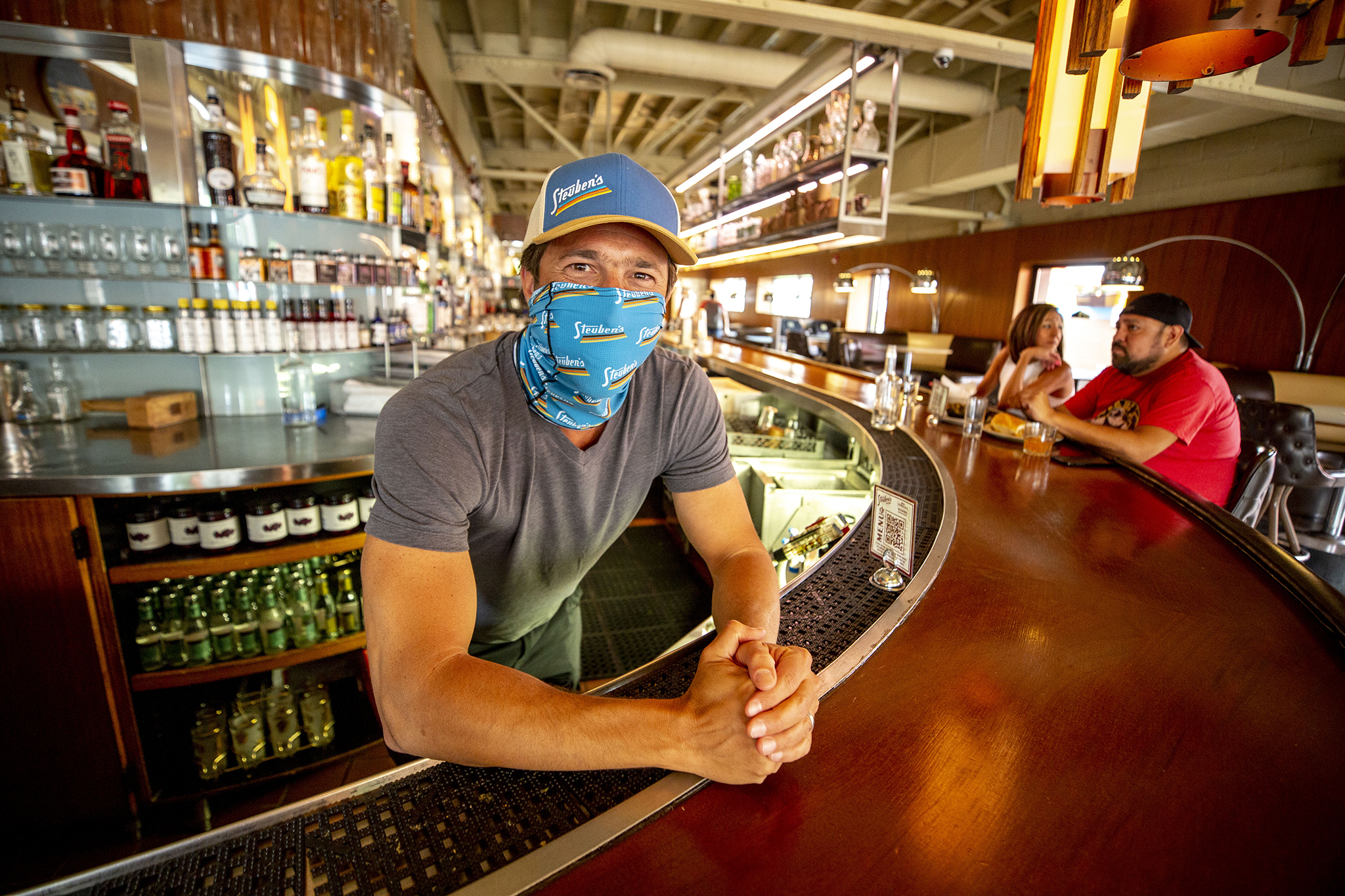 Josh Wolkon, owner of Steuben's, stands behind his 17th Avenue Bar. July 16, 2020.