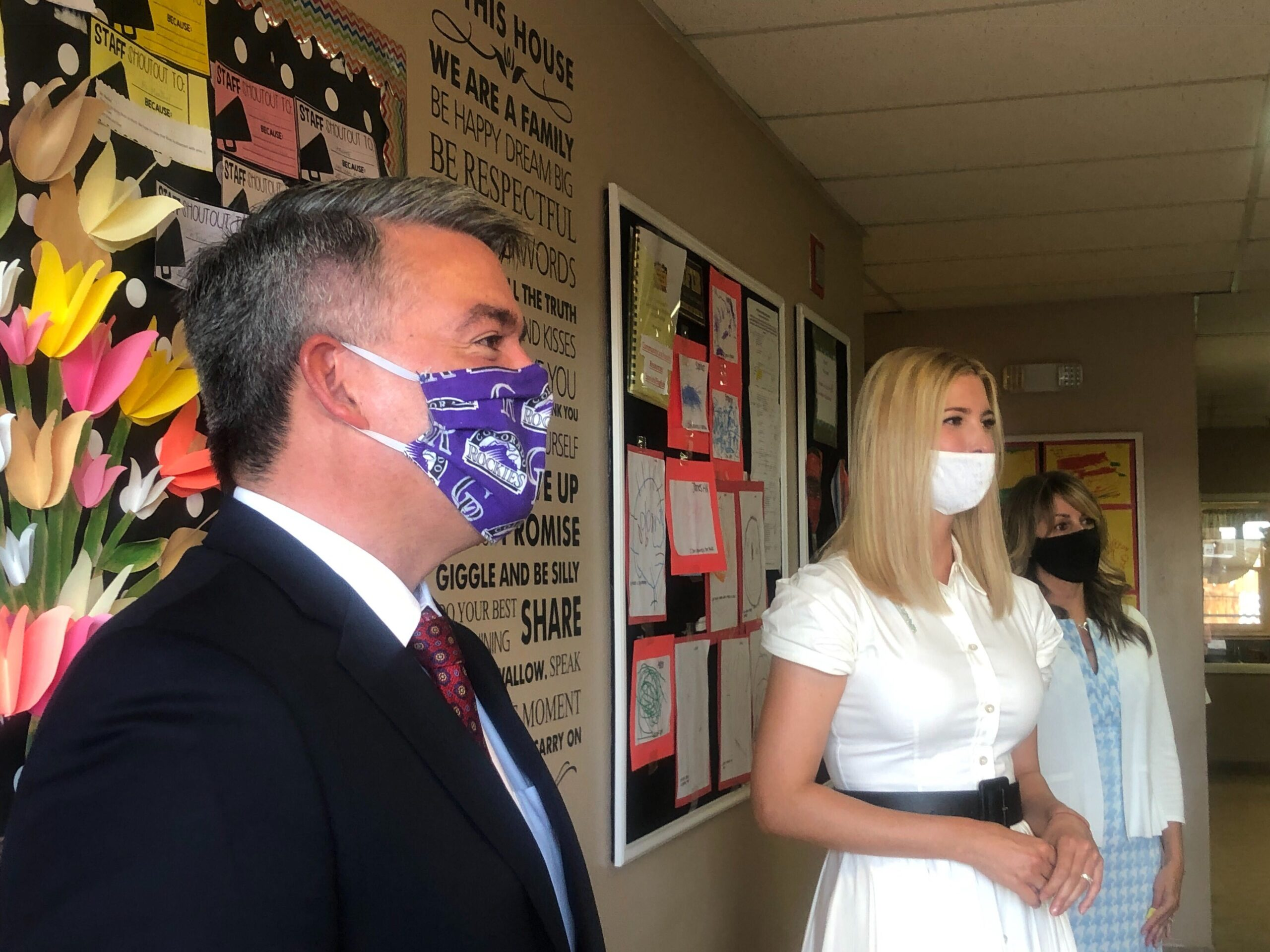 Colorado Sen. Cory Gardner and presidential advisor Ivanka Trump tour the Bright Beginnings Childcare Center in Greenwood Village, July 24, 2020.