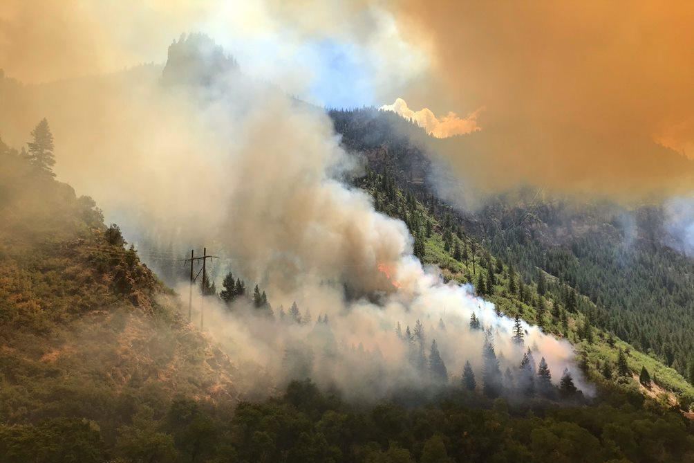 The Grizzly Creek Fire in Glenwood Canyon on Wednesday, Aug. 12.