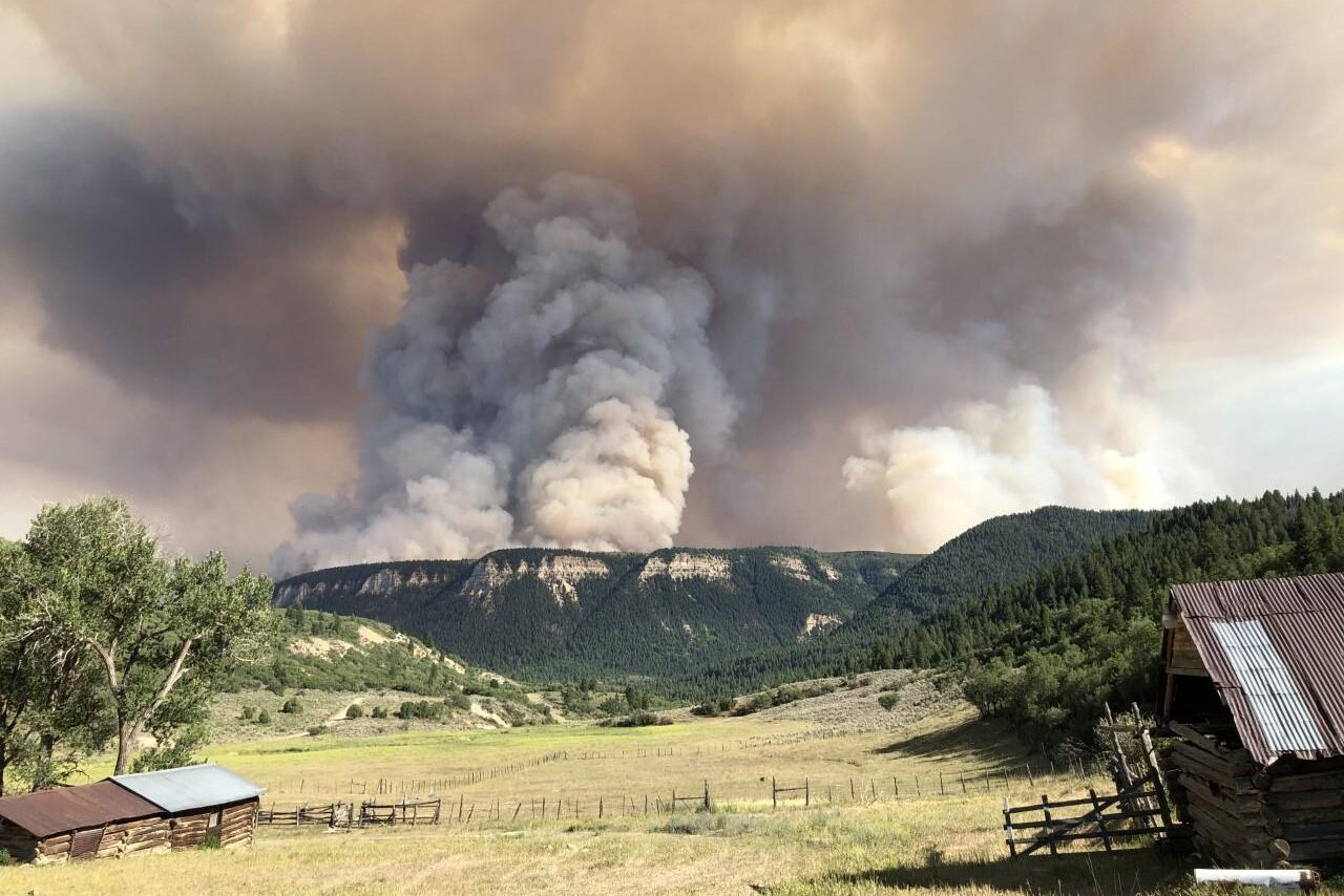 The smoke plume from the Pine Gulch fire as seen from Upper Carr Creek on Aug. 18. 2020.