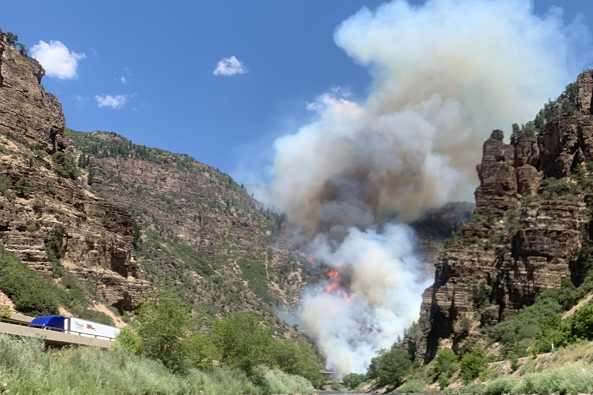 The Grizzly Creek wildfire photographed by tubers on the Colorado River.