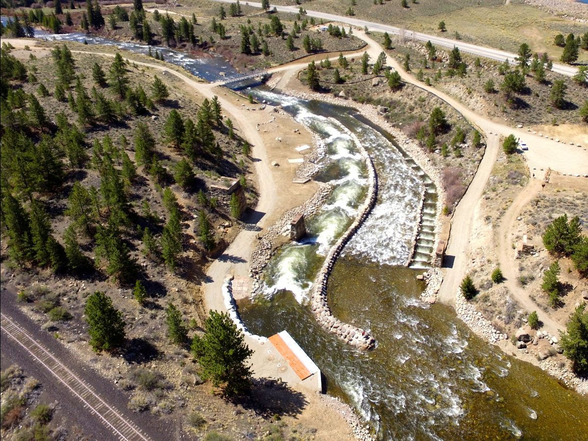 An aerial photo of the Homestake Arkansas River Diversion, located near Granite.