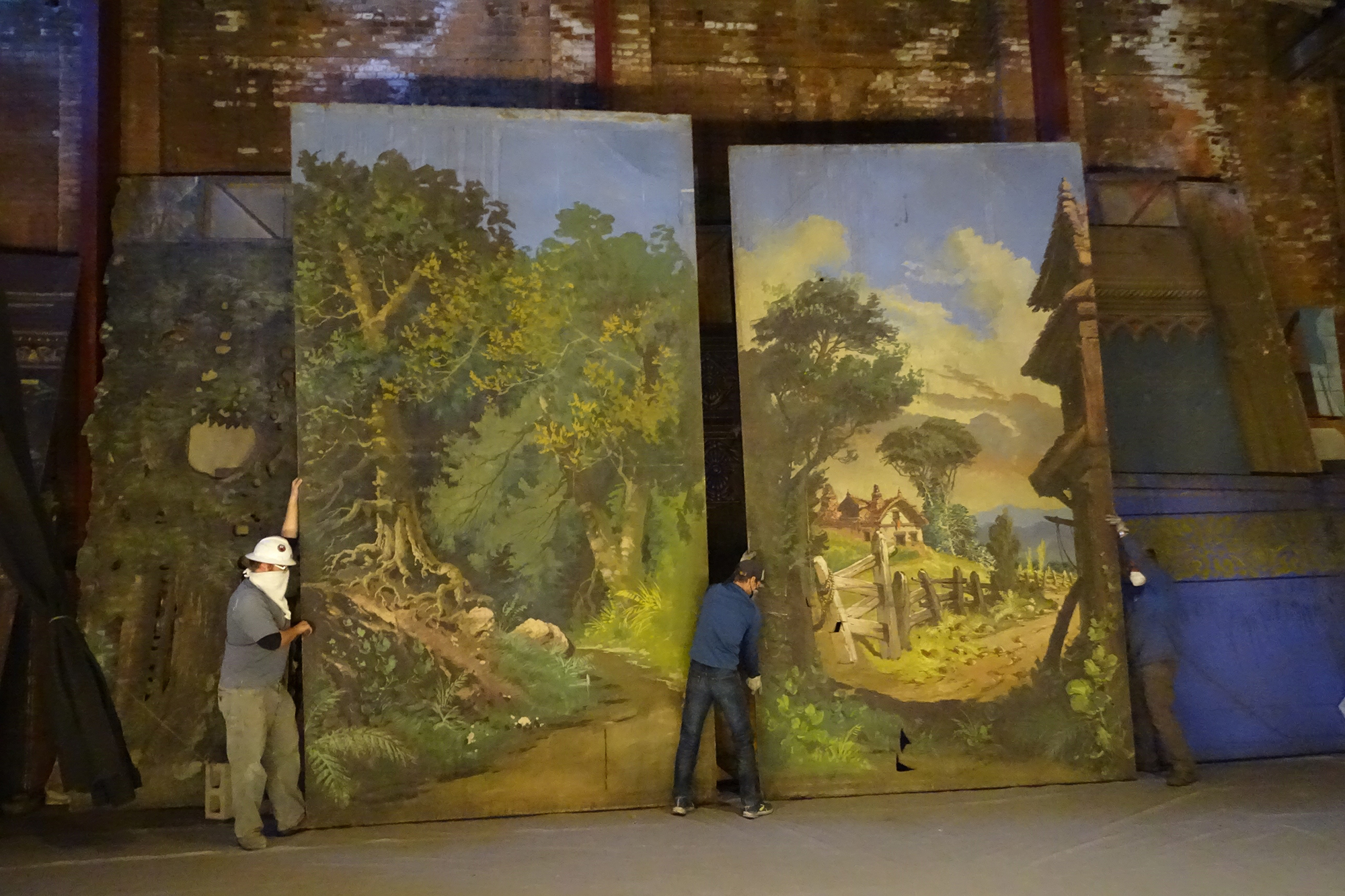 Panels from set scenery found in the Tabor Opera House.